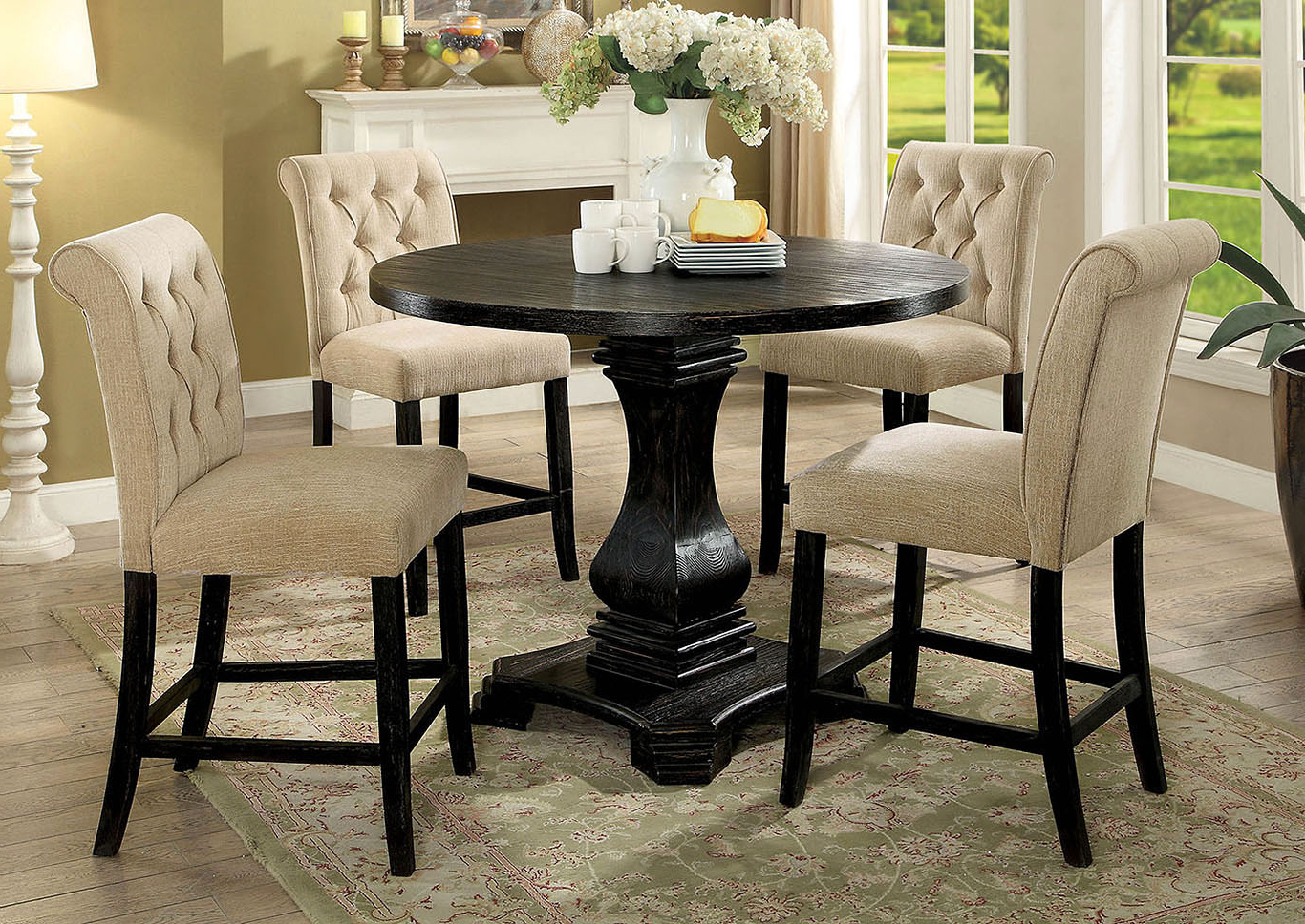Well Liked Peaceful Living Furniture Nerissa Antique Black Round For Antique Black Wood Kitchen Dining Tables (View 12 of 30)