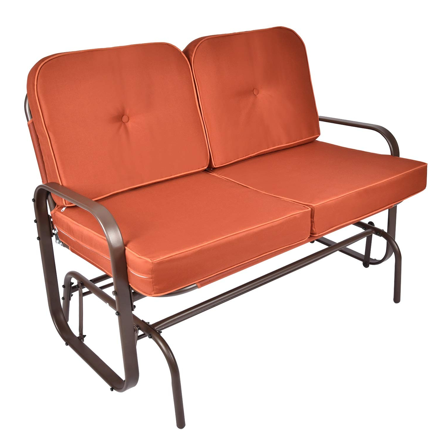 Well Liked Rocking Glider Benches With Cushions Pertaining To Elecwish Outdoor Swing Glider Rocking Chair Patio Bench For 2 Person,  Garden Loveseat Seating Patio W/uv Resistant Cushions (Orange) (Gallery 9 of 30)