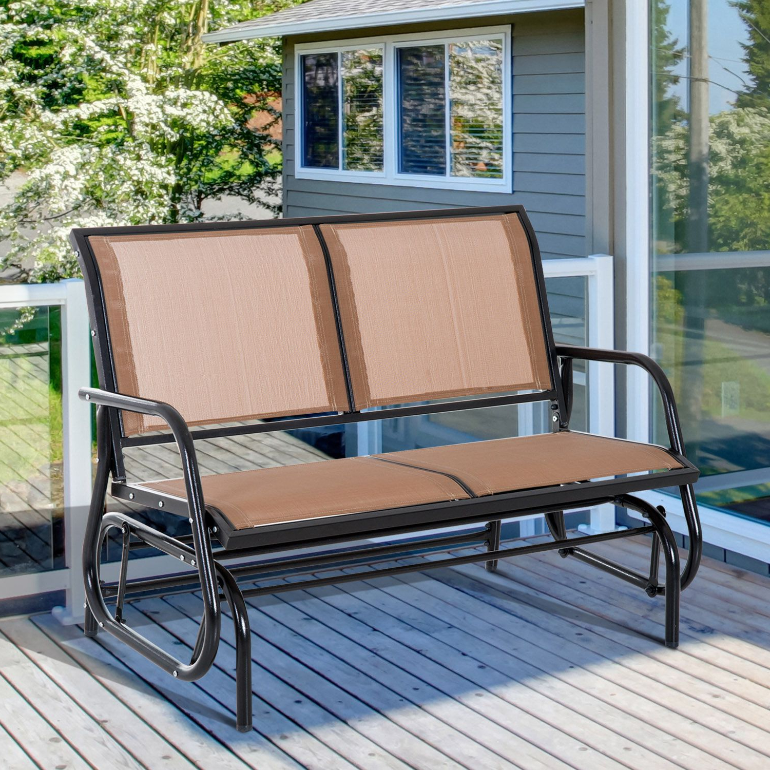 Well Liked Sling Double Glider Benches In Outsunny Steel Sling Fabric Patio Outdoor Glider Double Swing Chair – Brown (Gallery 23 of 30)