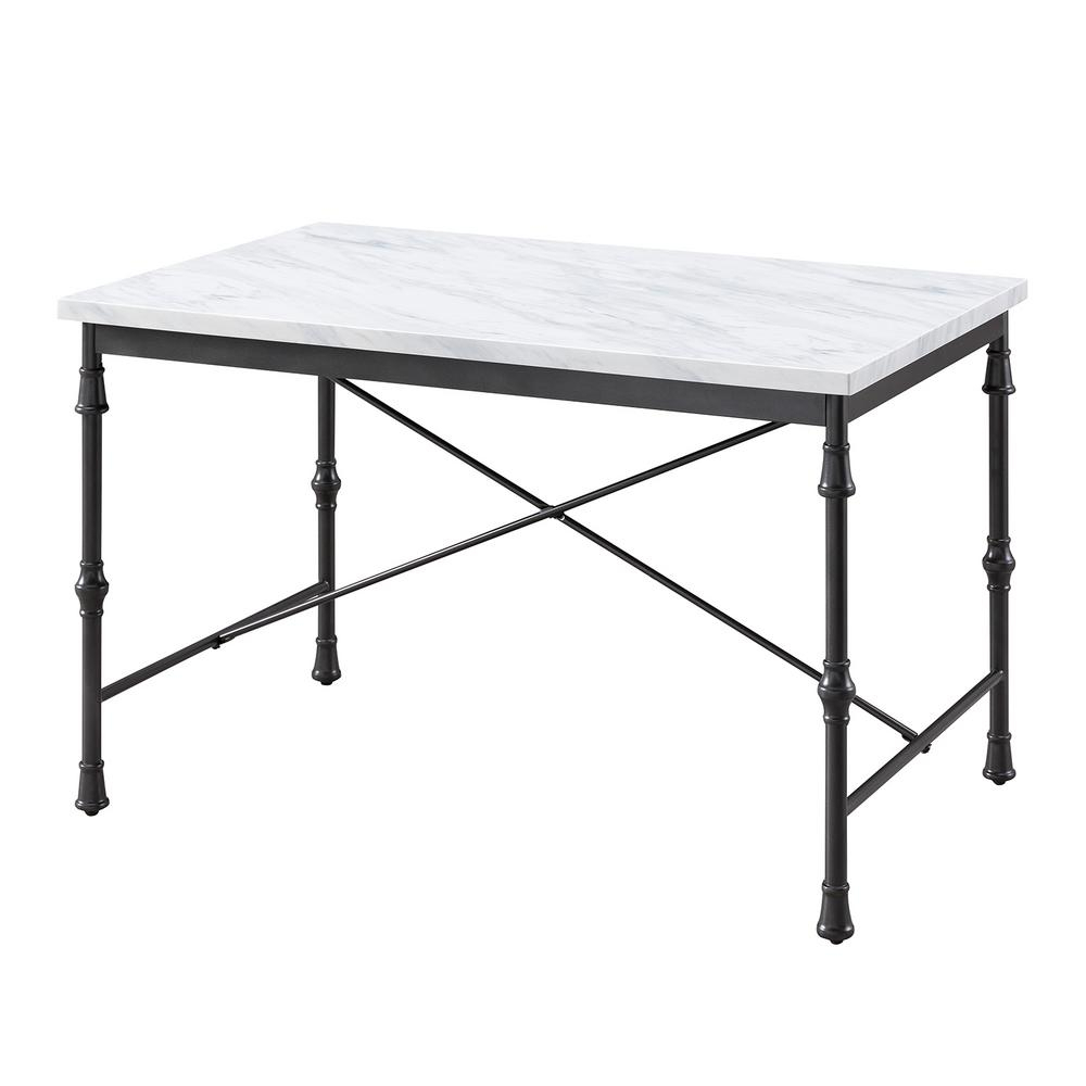 Well Liked Southern Enterprises Sorent White Faux Marble Dining Table Pertaining To Faux Marble Finish Metal Contemporary Dining Tables (View 28 of 30)