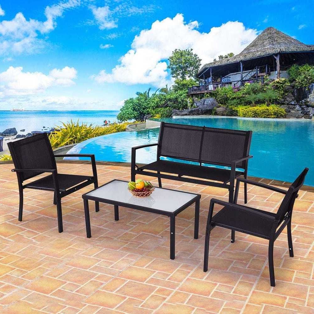 Well Liked Speckled Glider Benches Pertaining To Poolside Outdoor Patio Furniture Set Garden Yard Glass Table (View 15 of 30)