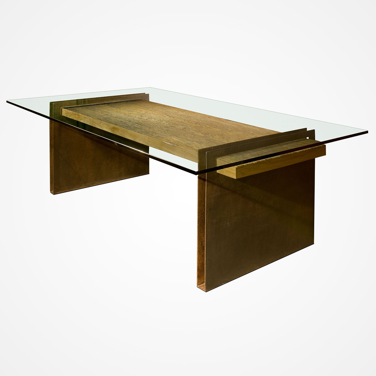Well Liked Steel And Glass Rectangle Dining Tables Regarding Chapa Metal Base Dining Table – Rotsen Furniture (View 29 of 30)