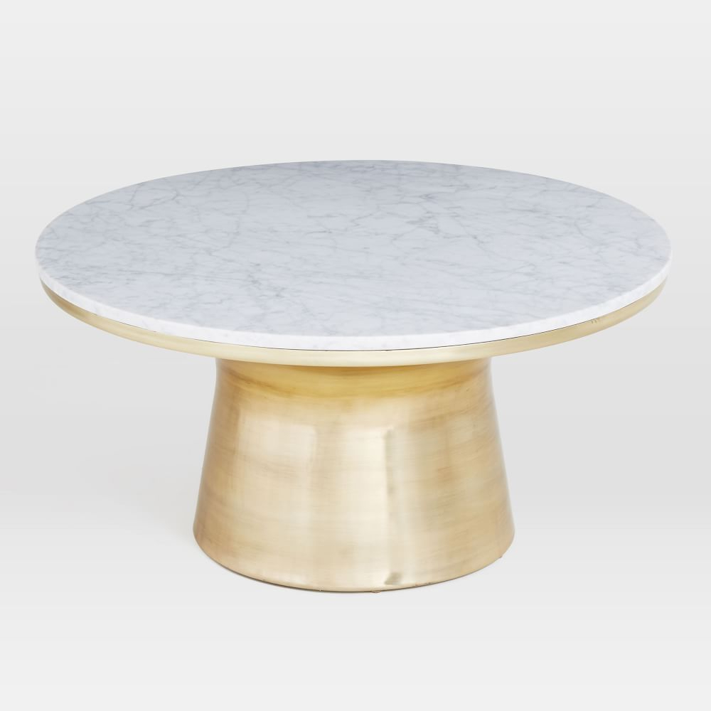 Well Liked Thick White Marble Slab Dining Tables With Weathered Grey Finish Throughout Marble Topped Pedestal Coffee Table – White Marble/antique (View 20 of 30)
