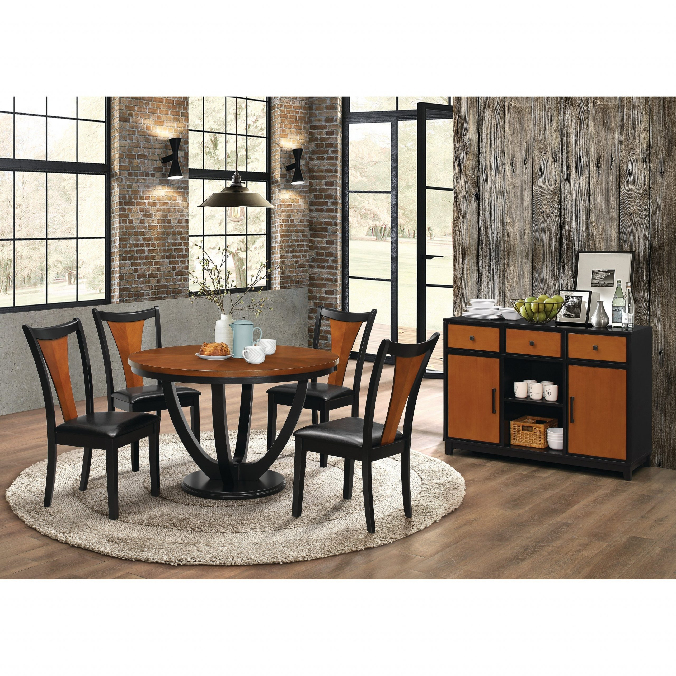 Well Liked Transitional 4 Seating Drop Leaf Casual Dining Tables With Boyer Transitional Amber And Black 5 Piece Dining Set (Gallery 14 of 30)