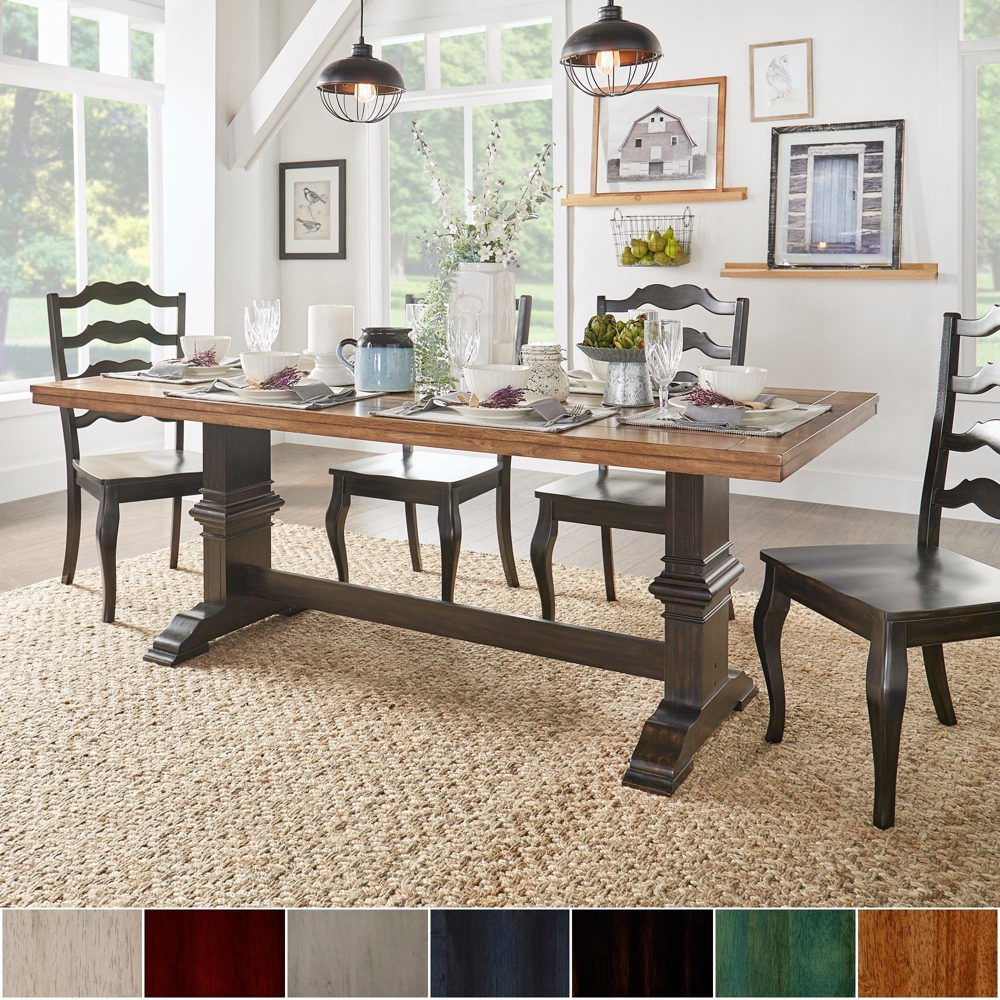 Well Liked Wood Top Dining Tables With Details About Eleanor Two Tone Rectangular Solid Wood Top Dining Table By (View 4 of 30)