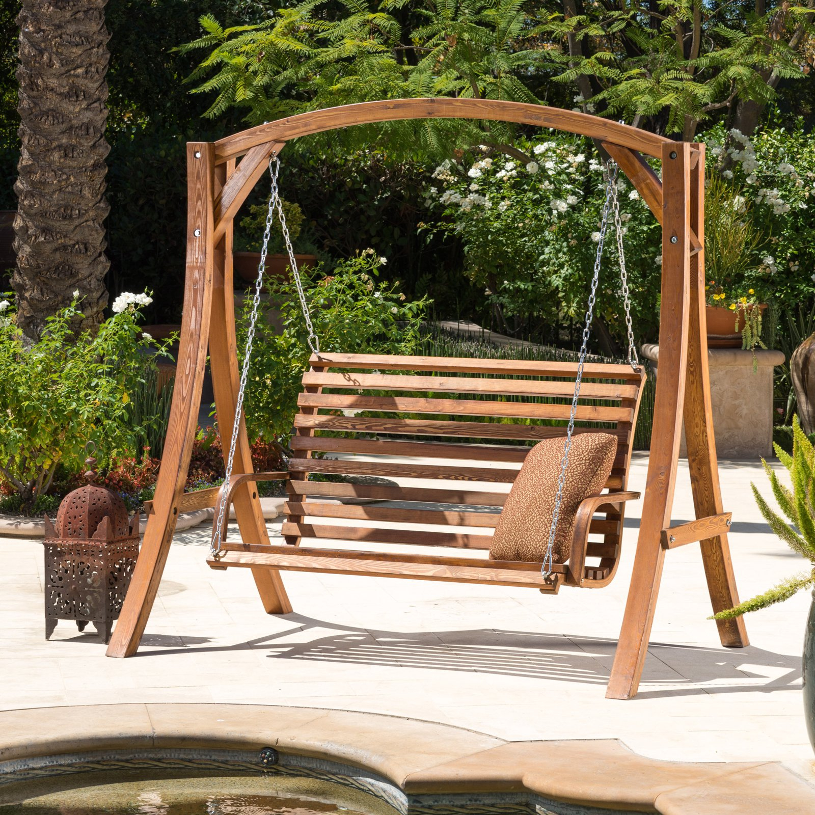 Weyburn Wood Porch Swing – Walmart In Well Known 3 Person Light Teak Oil Wood Outdoor Swings (View 30 of 30)