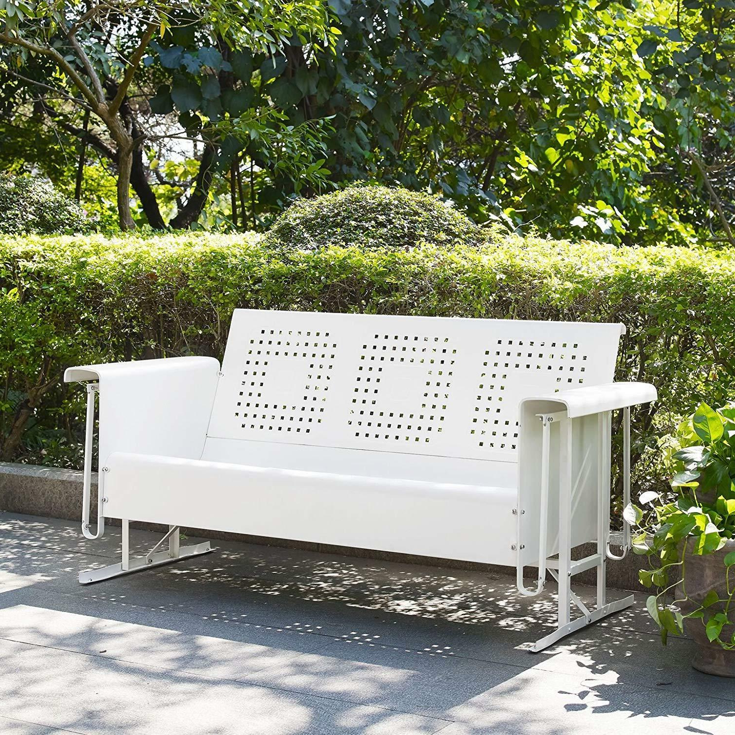 White 3 Person Metal Patio Glider Bench Outdoor Home Seating Furniture  Garden Pertaining To Well Known Center Table Double Glider Benches (Gallery 17 of 30)
