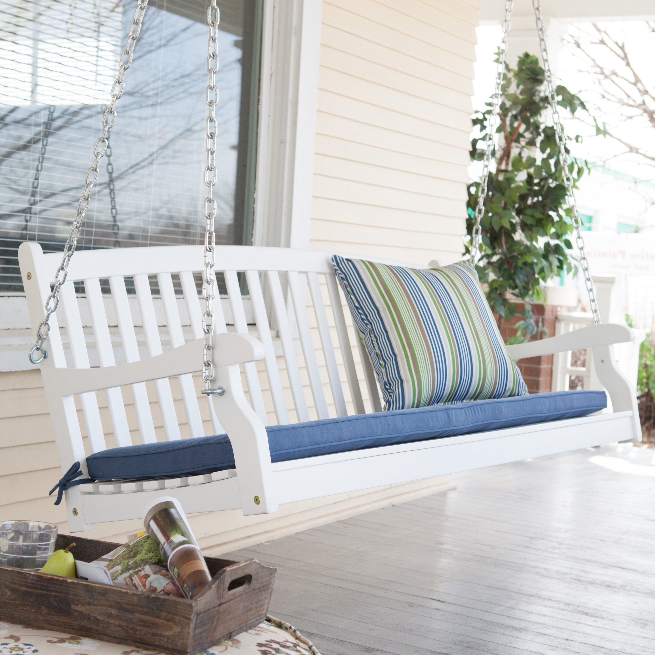 White Chain For Porch Swing Throughout Best And Newest Nautical Porch Swings (View 30 of 30)