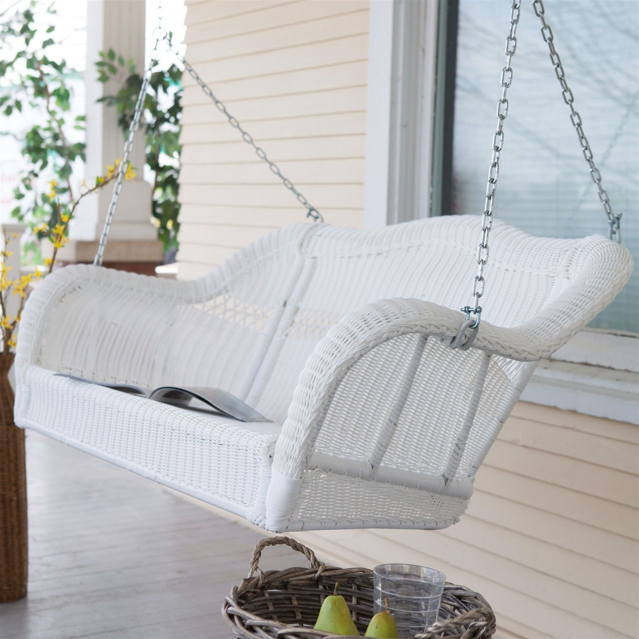White Resin Wicker Porch Swing, Hanging Chain – 600 Lb Pertaining To Most Recently Released Porch Swings With Chain (View 10 of 30)