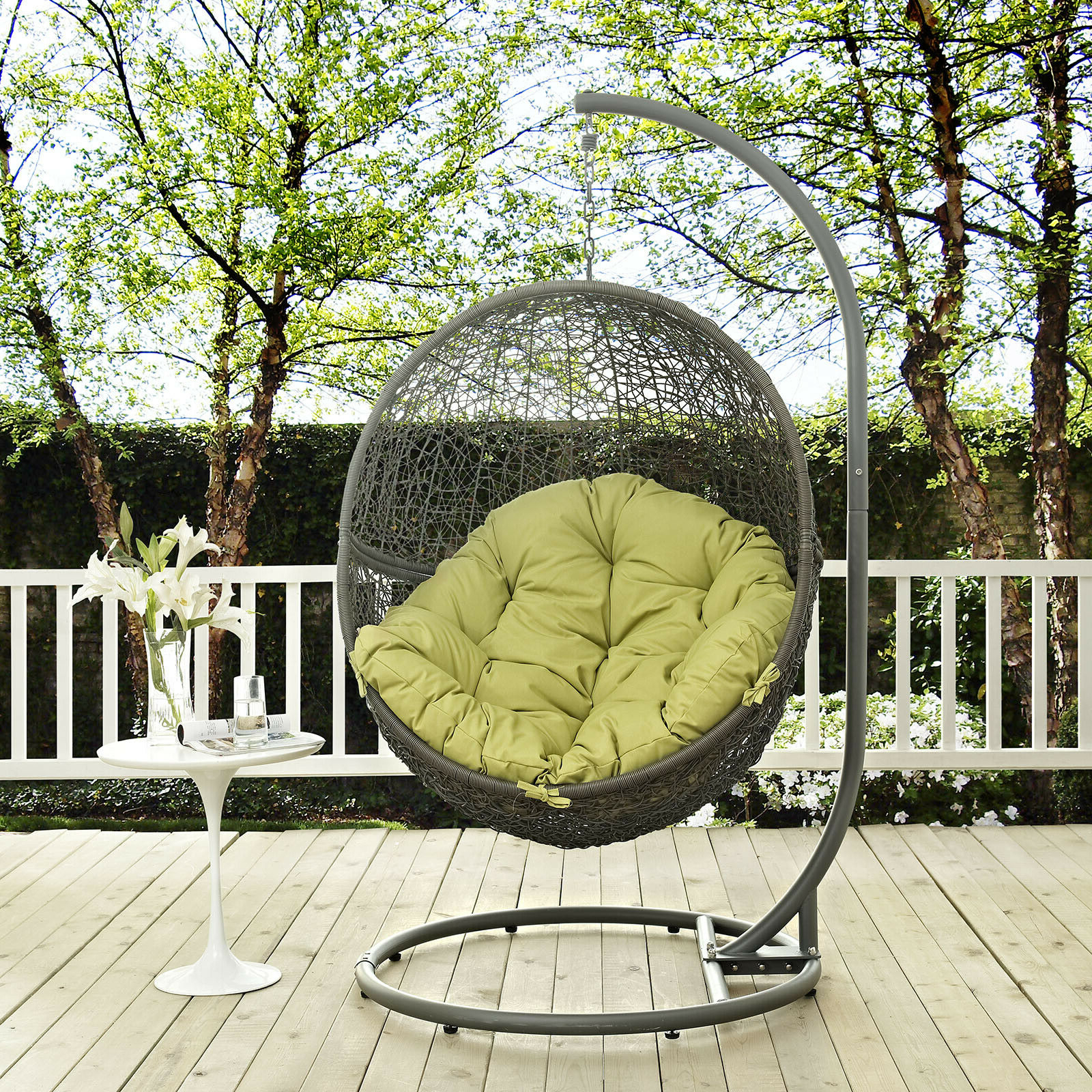 Wicker Glider Outdoor Porch Swings With Stand For Most Recent Details About Wicker Rattan Outdoor Patio Hanging Swing Porch Chair W/  Stand In Gray Peridot (View 26 of 30)