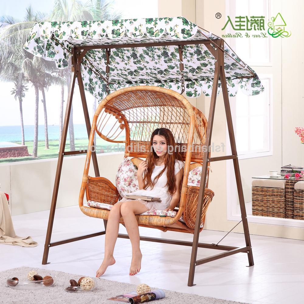 Wicker Glider Outdoor Porch Swings With Stand Throughout Most Popular Outdoor Patio Garden Steel Rattan Double Two Love Seat Hanging Swing Chair  Set Fo Adults And Kids – Buy Double Swing Chair Set,rattan Two Seat Swing (View 27 of 30)