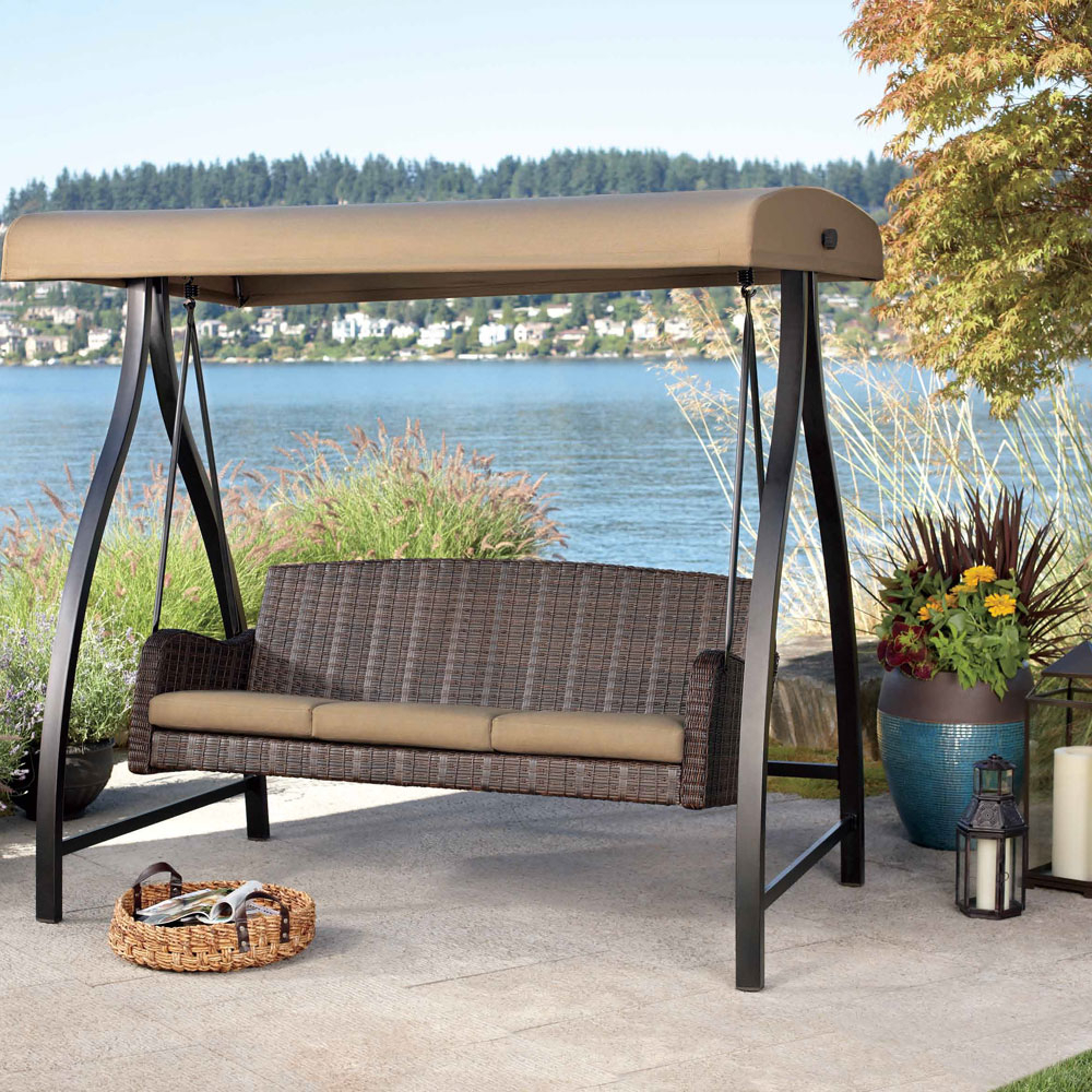 Wicker Glider Outdoor Porch Swings With Stand With Regard To Well Known Wicker Patio Swing Set : Outdoor Decorations – Fun Patio (View 29 of 30)
