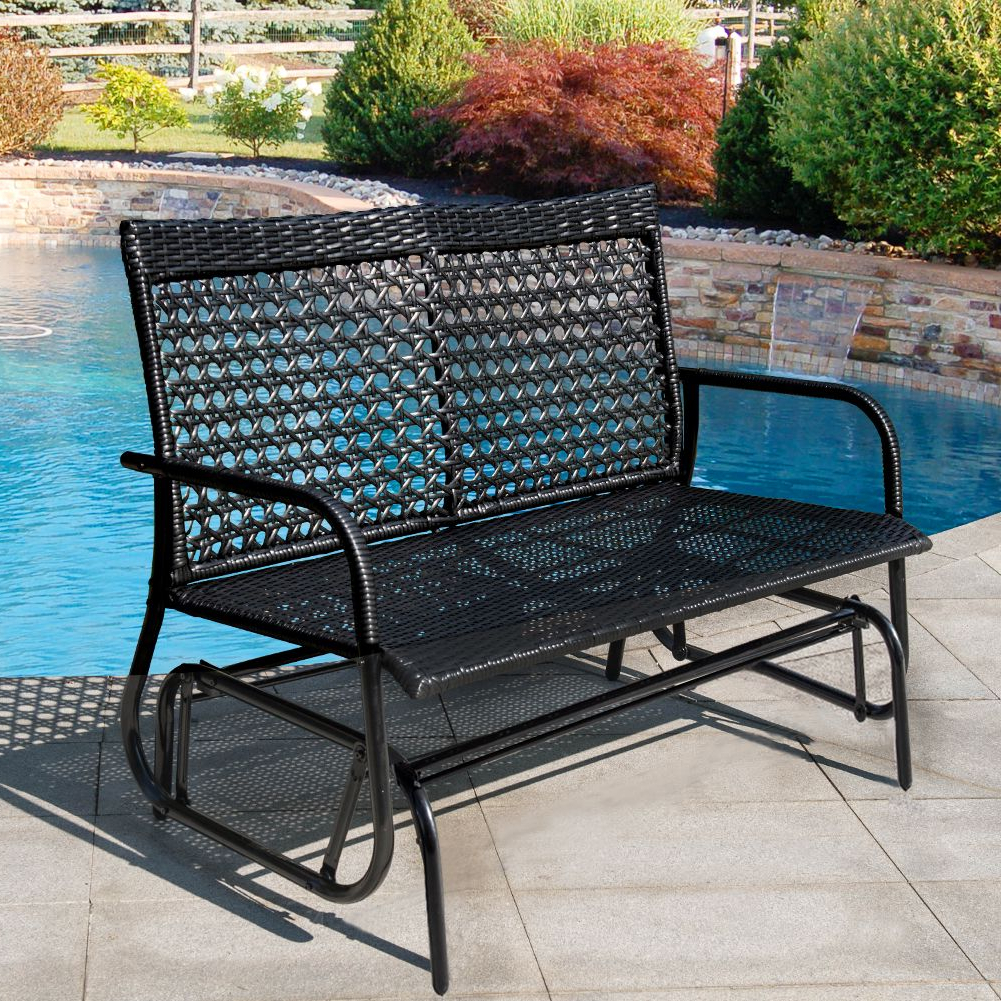 Widely Used 2 Person Antique Black Iron Outdoor Gliders With Regard To Sundale Outdoor 2 Person Wicker Loveseat Glider Bench Chair (View 4 of 30)