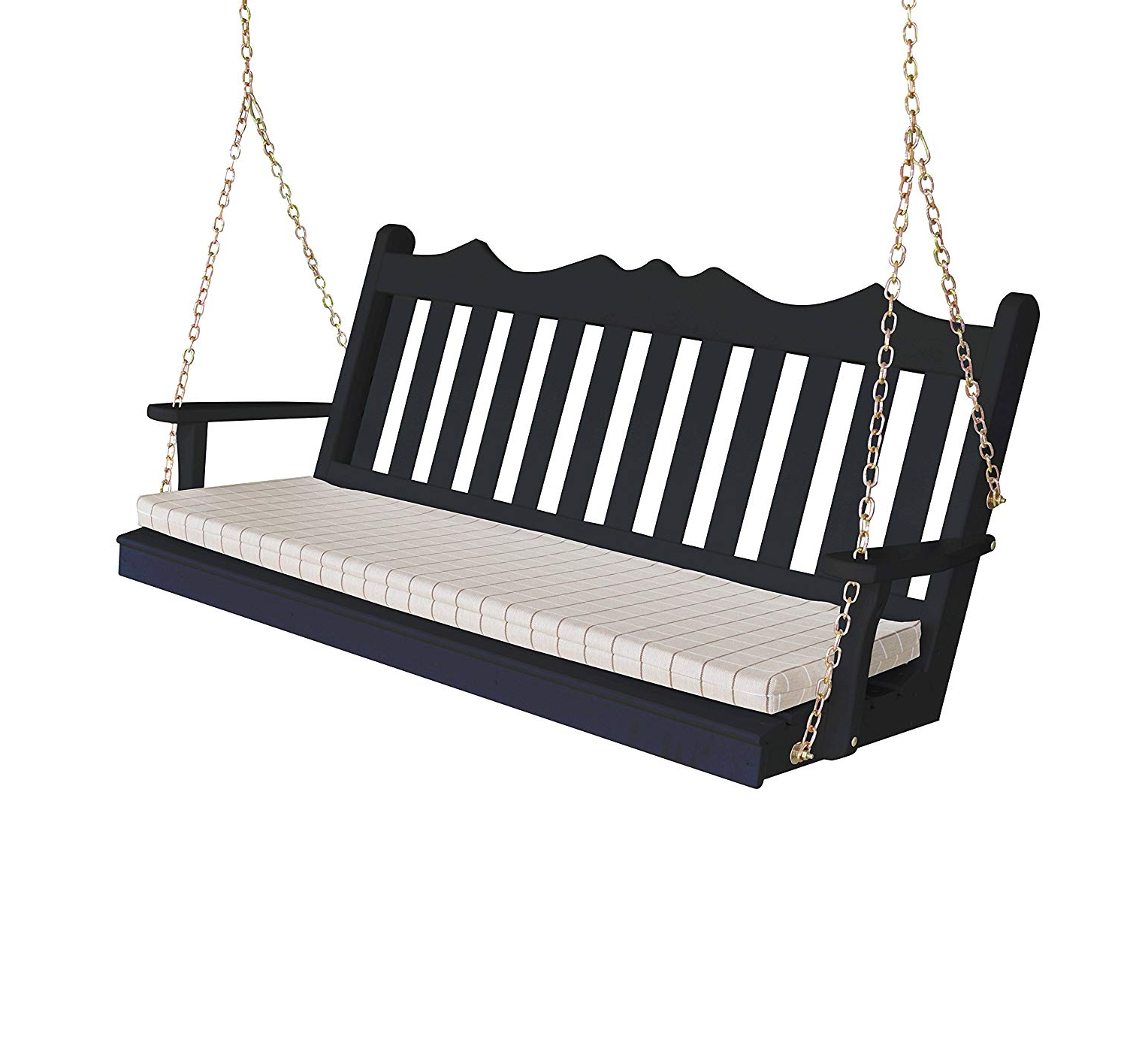 Widely Used 2 Person Black Wood Outdoor Swings With Amazon : Wood Porch Swing, Amish Outdoor Hanging Porch (Gallery 5 of 30)