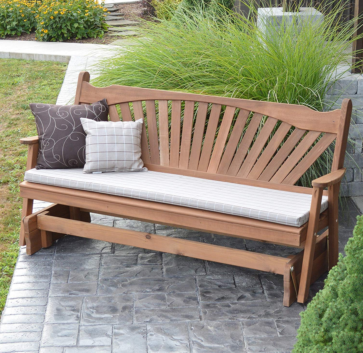Widely Used 2 Person Natural Cedar Wood Outdoor Gliders Throughout Cedar Porch Glider Bench Outdoor Patio Gliding Bench, 2 Person Wooden Loveseat Benches, Amish Made Furniture Weather Resistant Western Red Cedar Wood, (View 7 of 30)