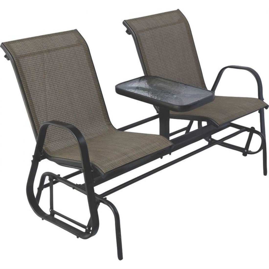 Widely Used 2 Person Outdoor Patio Furniture Glider Chairs With Console Table Inside Outdoor Patio Swing Glider Bench Chair S (Gallery 10 of 30)