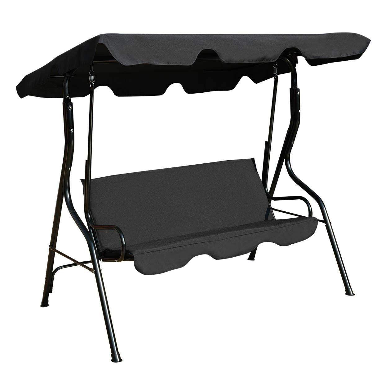 Widely Used 3 Seats Patio Canopy Swing Gliders Hammock Cushioned Steel Frame Throughout Amazon : Nanapluz Black 3 Seats Steel Frame Backyard (View 30 of 30)