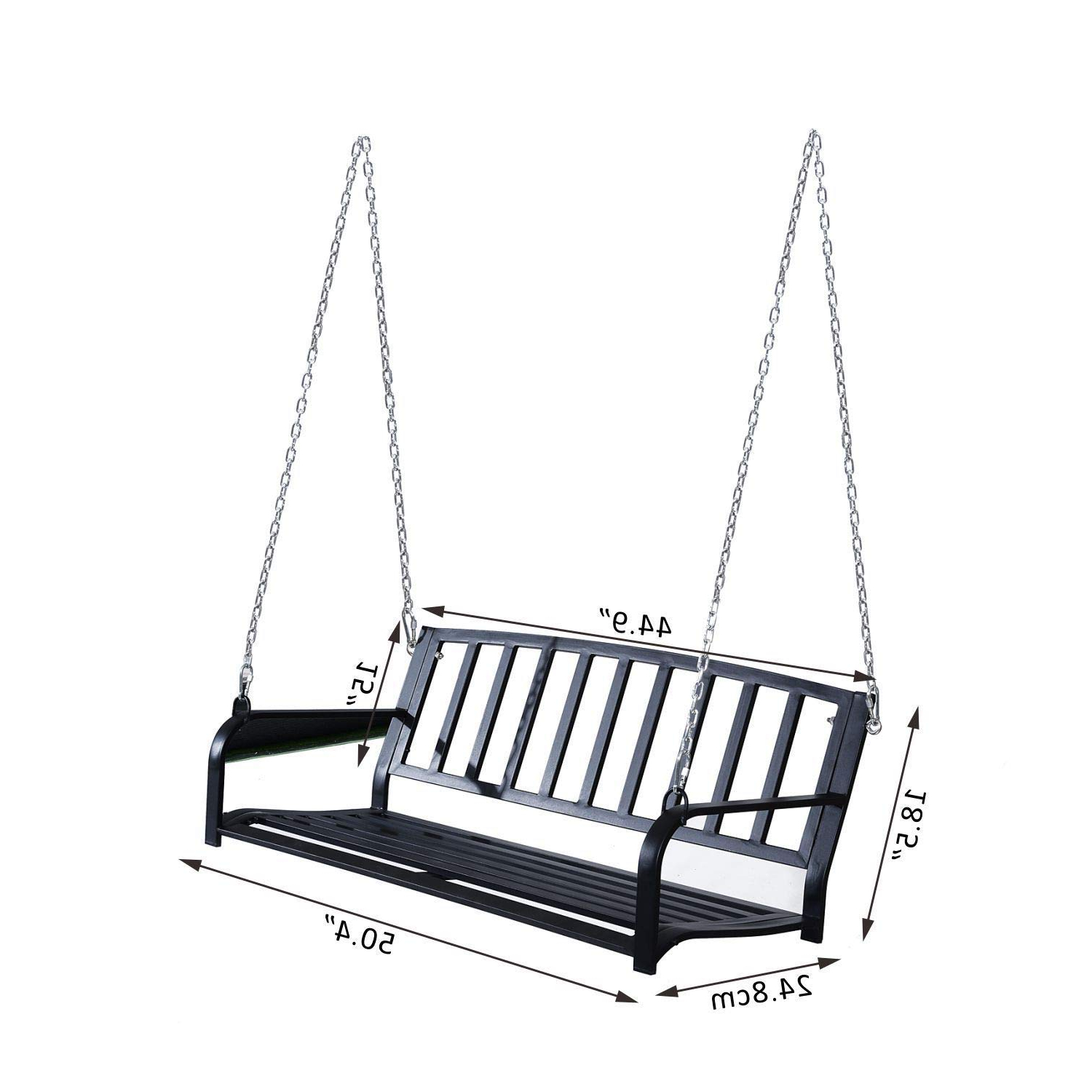 """Widely Used Amazon : Black 50.25"""" L Steel 2 Person Yard Patio Porch For 2 Person Black Steel Outdoor Swings (Gallery 5 of 30)"""