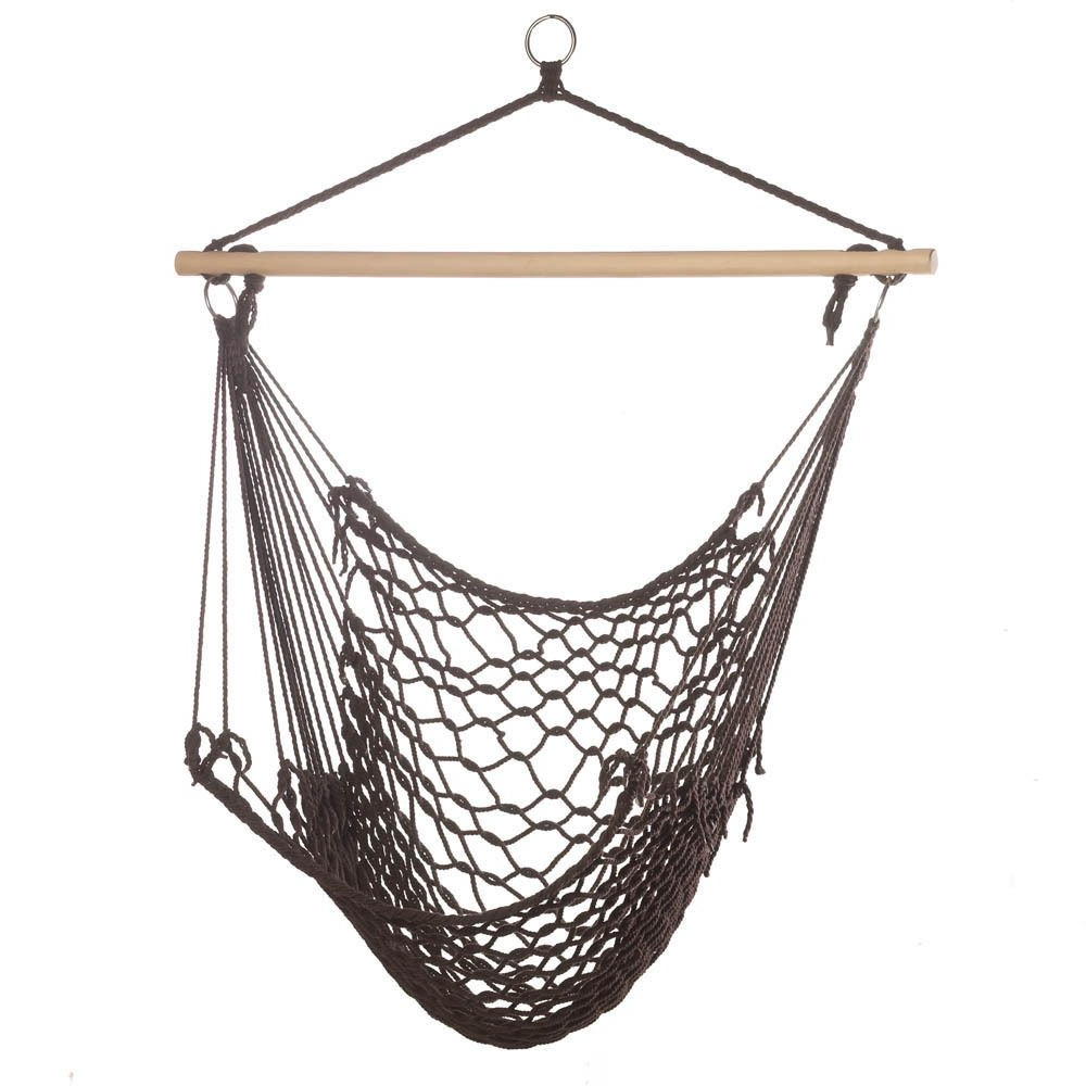 Widely Used Amazon : Espresso Cotton Rope Porch Swing Chair Hammock Regarding Cotton Porch Swings (Gallery 4 of 30)