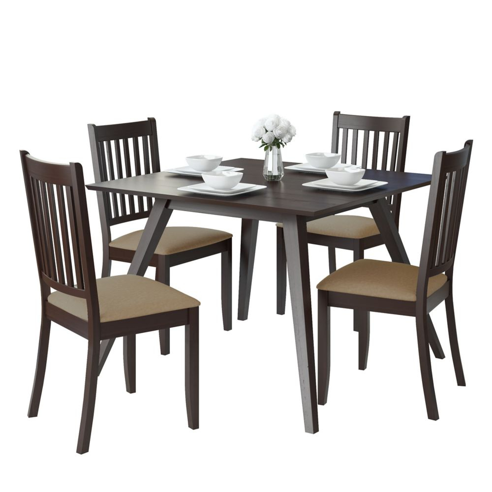 Widely Used Atwood Transitional Square Dining Tables Throughout Atwood 5 Piece Dining Set With Beige Microfiber Chairs (View 16 of 30)