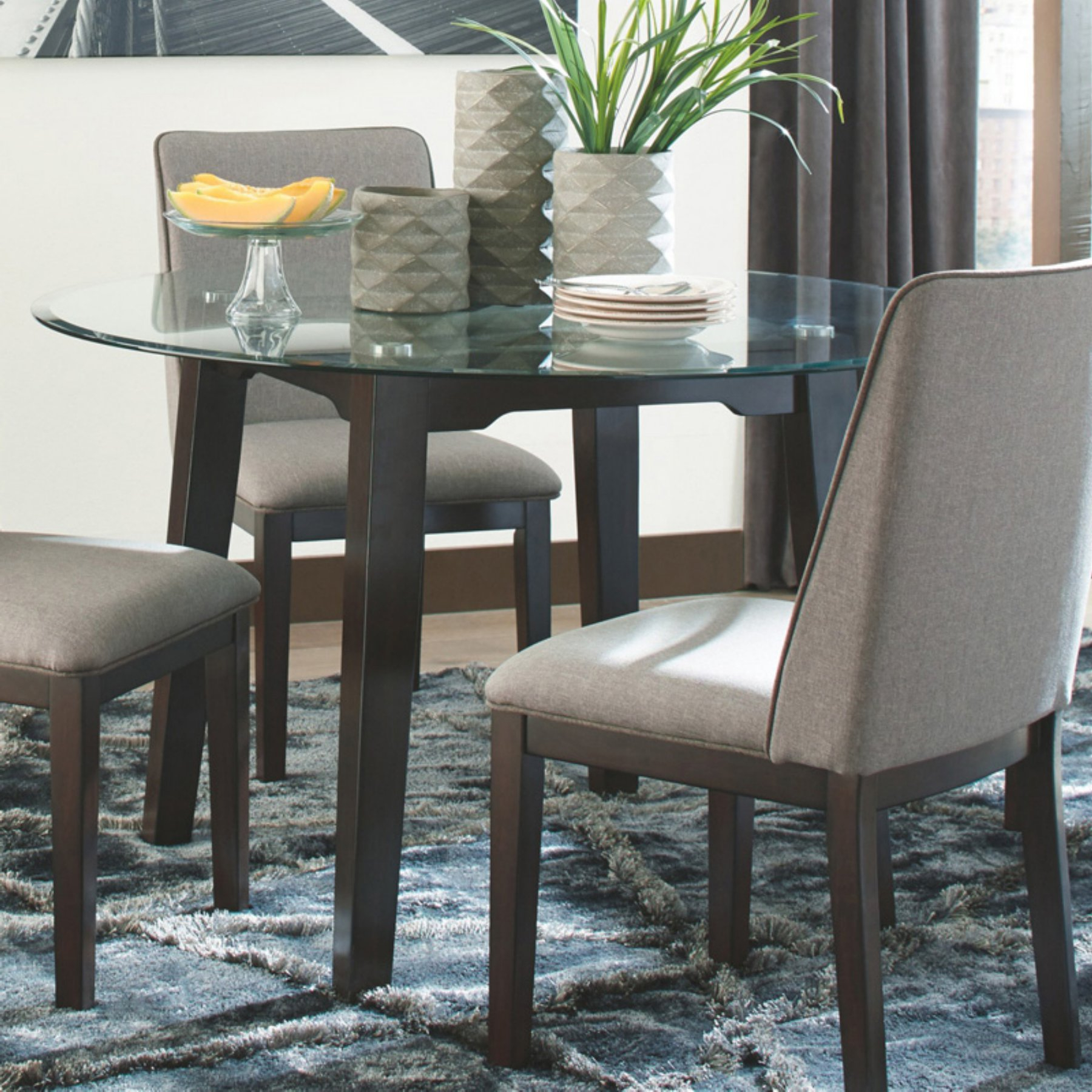 Widely Used Glass Top Condo Dining Tables With Signature Designashley Chanceen Round Glass Top Dining (Gallery 5 of 30)