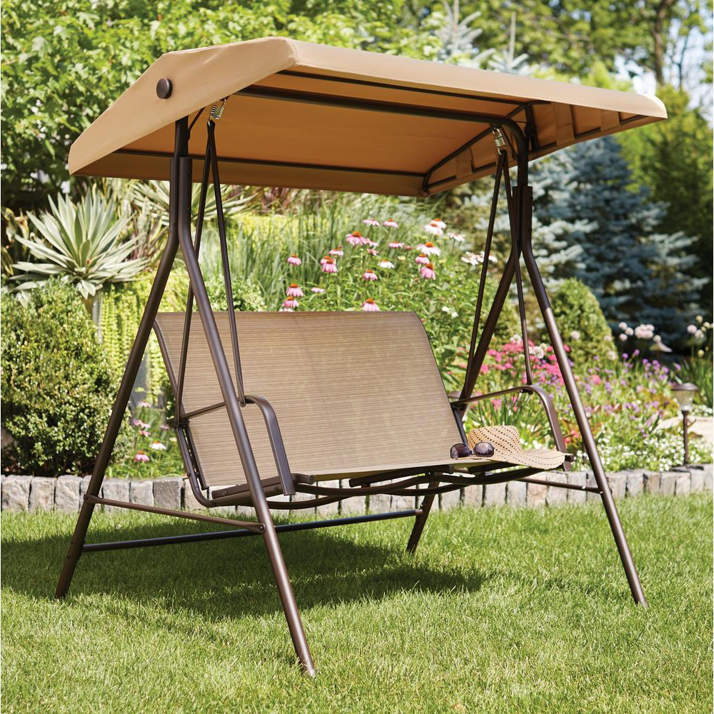 Widely Used Hampton Bay Mix And Match 2 Person Sling Outdoor Swing Throughout 2 Person Light Teak Oil Wood Outdoor Swings (Gallery 14 of 30)