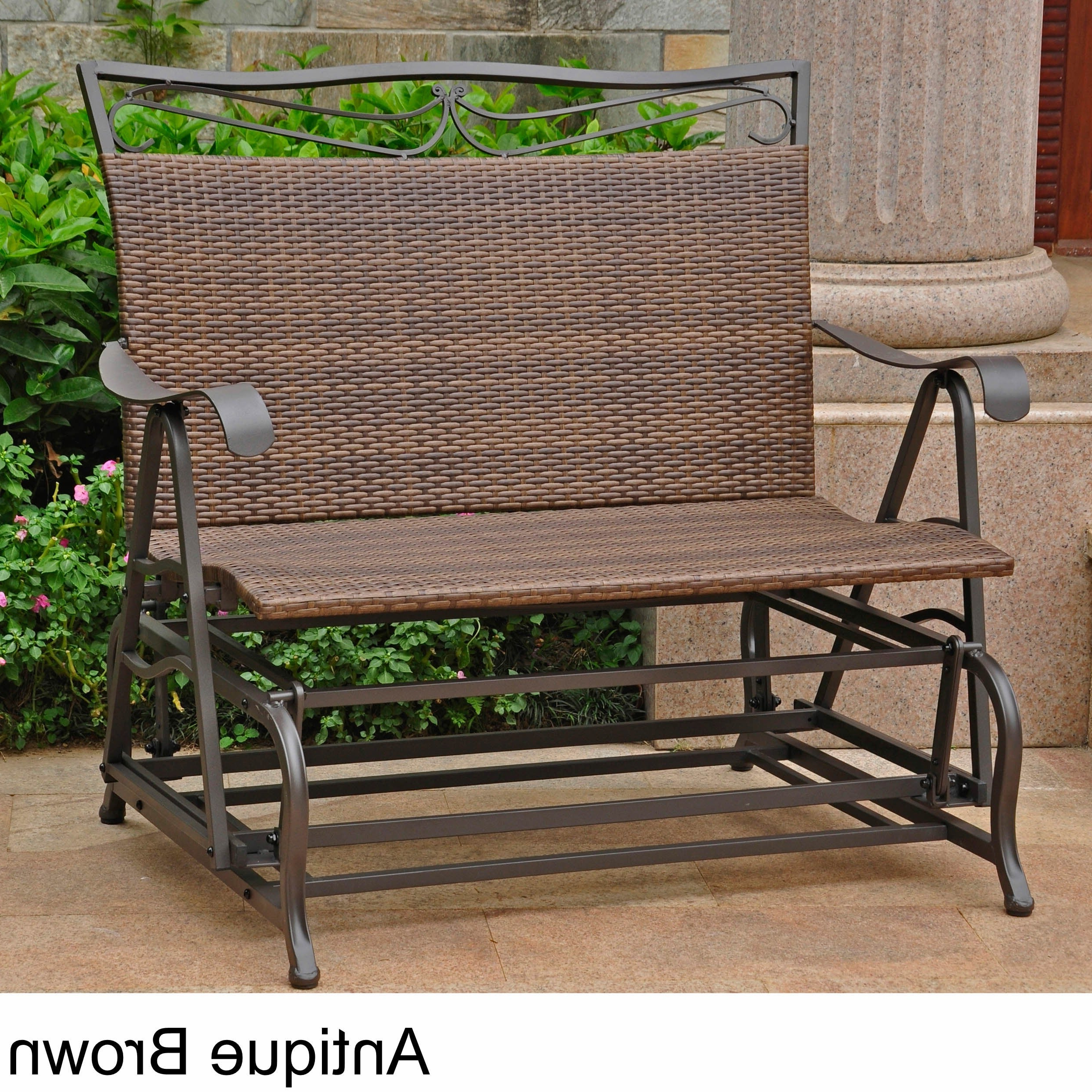Widely Used International Caravan Valencia Resin Wicker/ Steel Frame Double Glider Chair With 1 Person Antique Black Steel Outdoor Gliders (View 14 of 30)