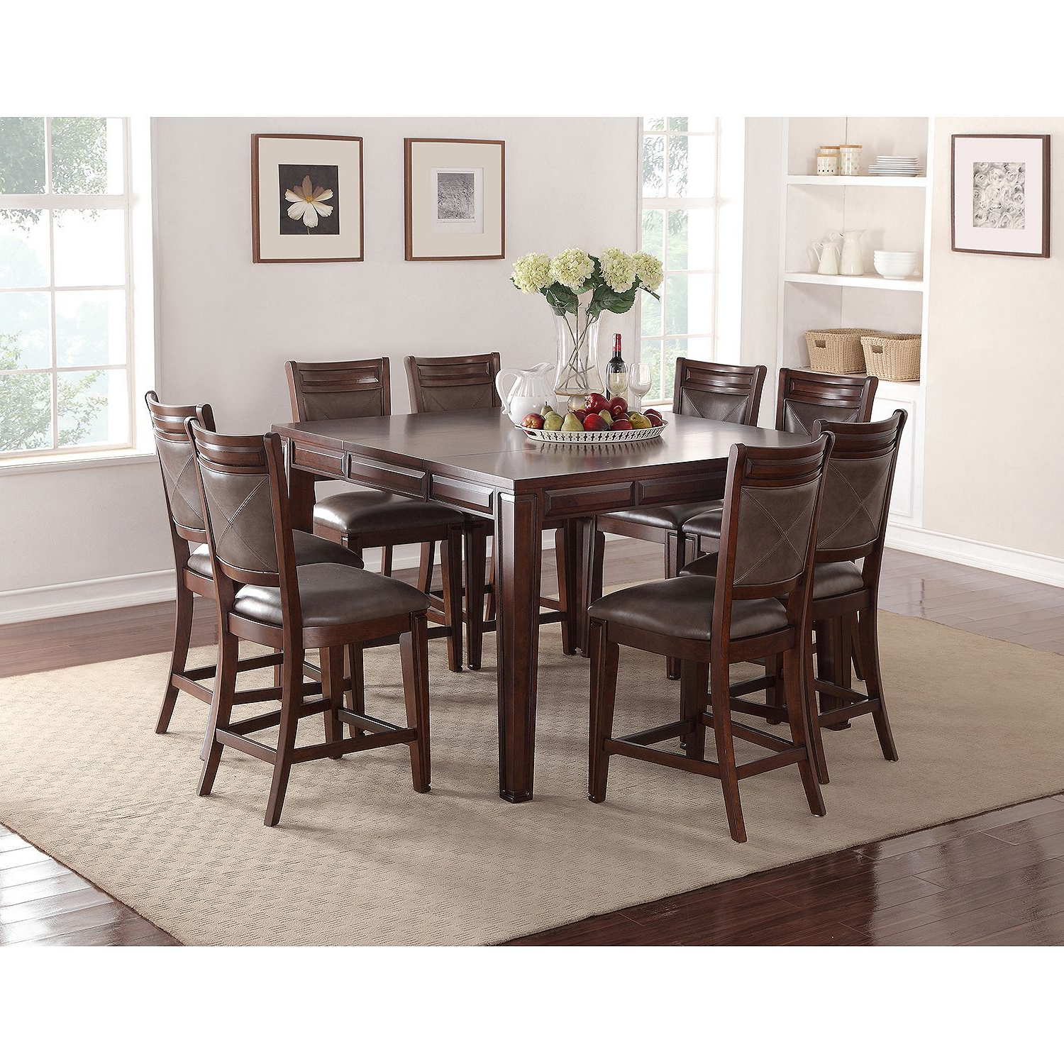 Widely Used Member's Mark Audrey Counter Height Table And Chairs, 9 Pertaining To Transitional Antique Walnut Square Casual Dining Tables (View 11 of 30)