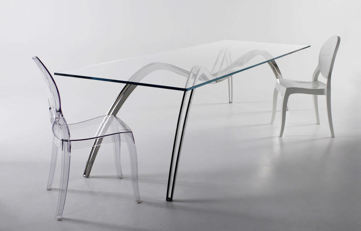 Widely Used Original Design Dining Table / Glass / Stainless Steel / Rectangular Within Steel And Glass Rectangle Dining Tables (Gallery 4 of 30)