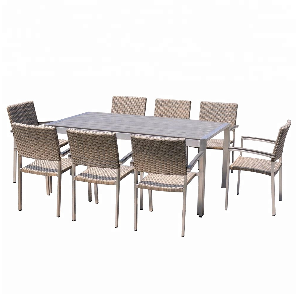 Widely Used Outdoor Metal Frame Brushed Surface Aluminium Dining Table Set – Buy  Malaysia Dining Table Set,hideaway Dining Table And Chair Set,royal Design  Dining In Dining Tables With Brushed Stainless Steel Frame (Gallery 19 of 30)