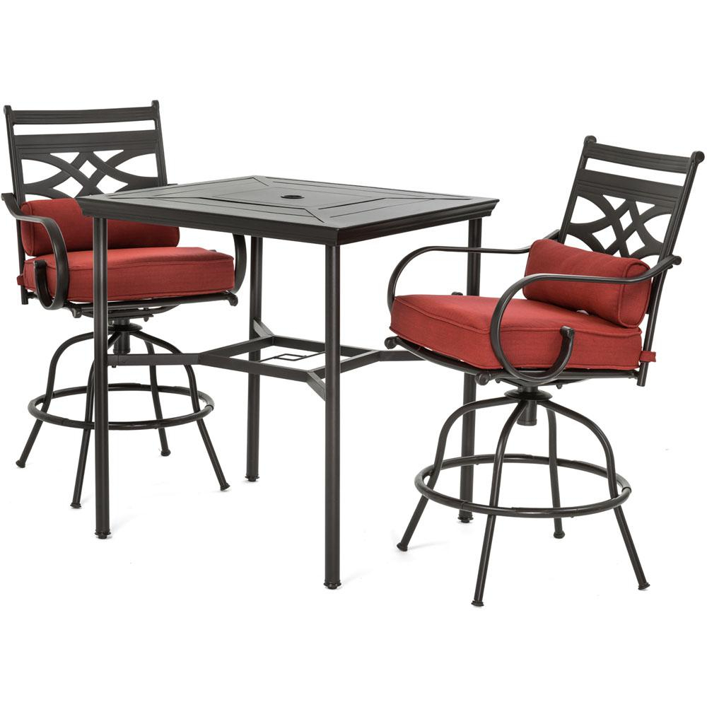 Widely Used Patio Square Bar Dining Tables Pertaining To Details About Hanover Patio Dining Set Metal Outdoor Bar Height Chili Red Cushions 3 Piece (View 19 of 30)