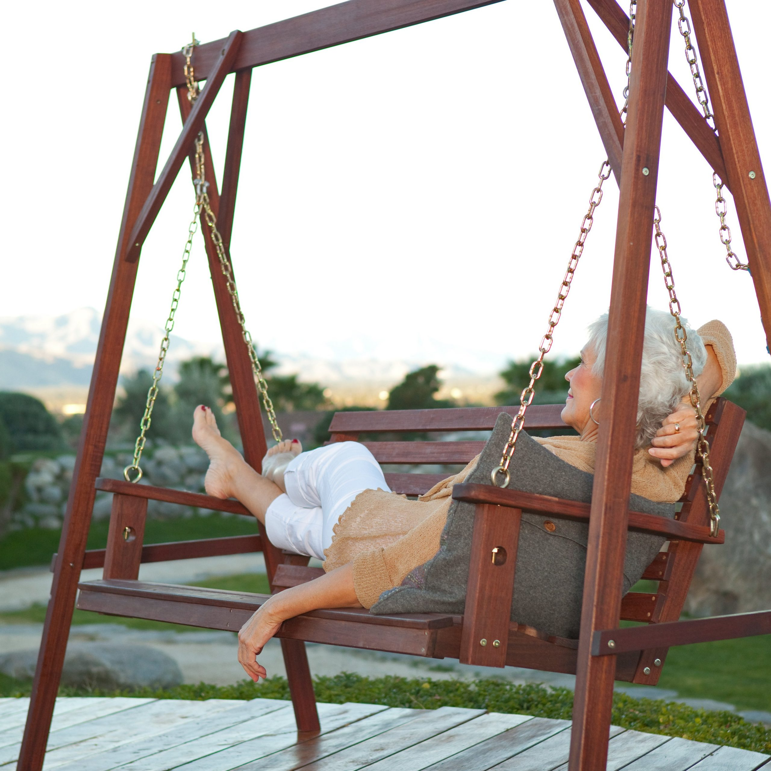 Widely Used Porch Swings With Stand Throughout Belham Living Richmond Straight Back Porch Swing & Stand (Gallery 23 of 30)