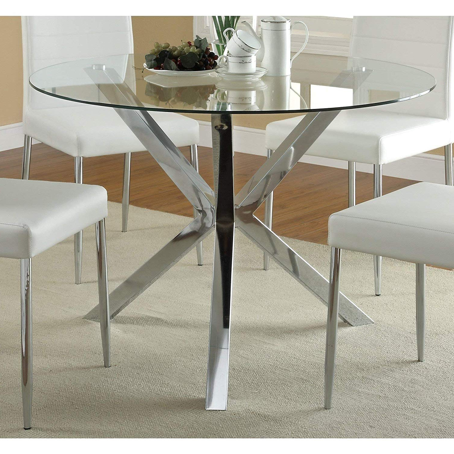 Widely Used Round Dining Tables With Glass Top For Amazon – Contemporary Glass Top Round Dining Table With (Gallery 3 of 30)