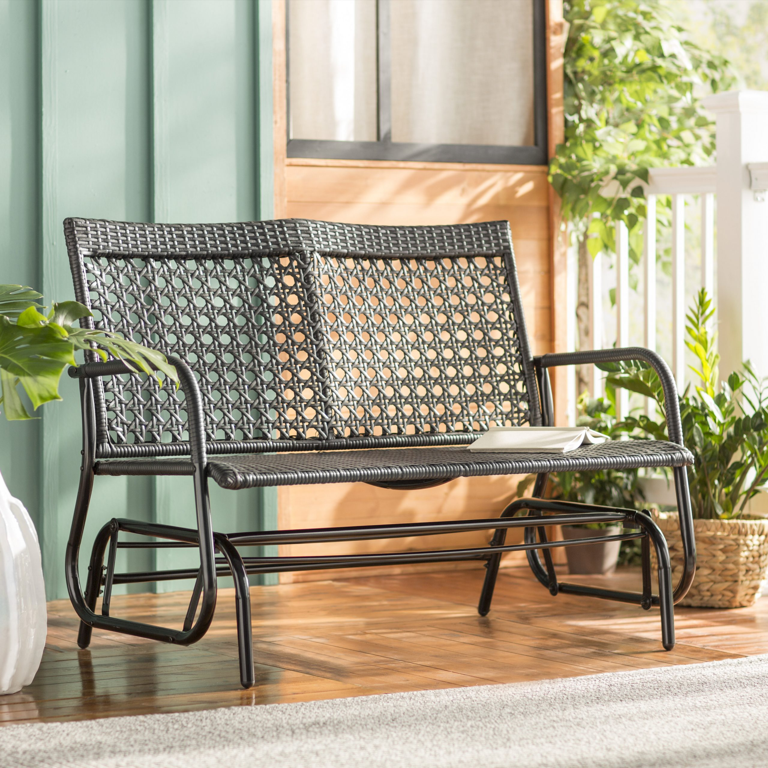 Widely Used Shupe Steel Rattan Outdoor Patio Double Bench Glider Regarding Speckled Glider Benches (View 20 of 30)