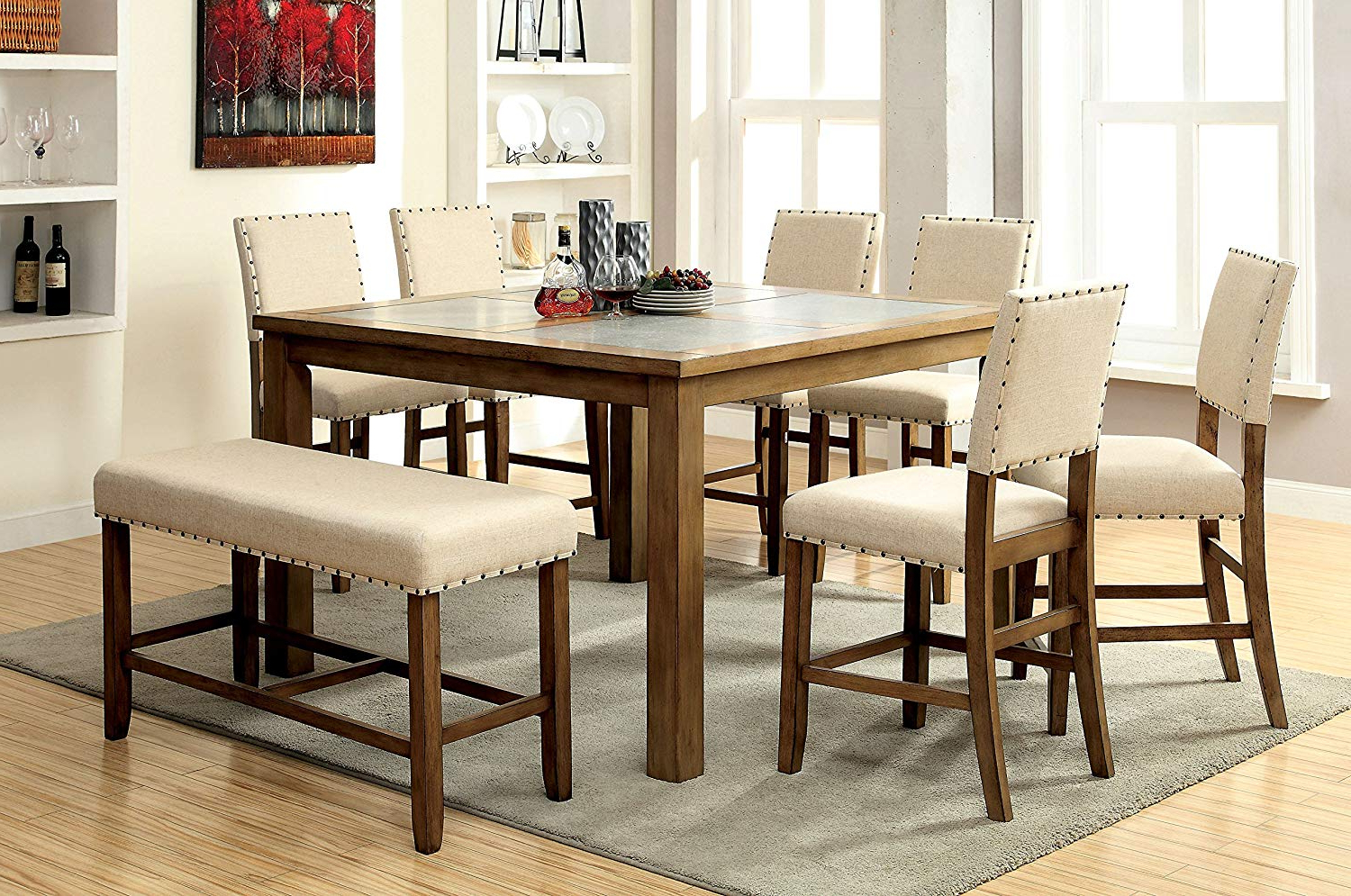 Widely Used Transitional Driftwood Casual Dining Tables For Furniture Of America Lucena 8 Piece Transitional Pub Dining Set (View 4 of 30)