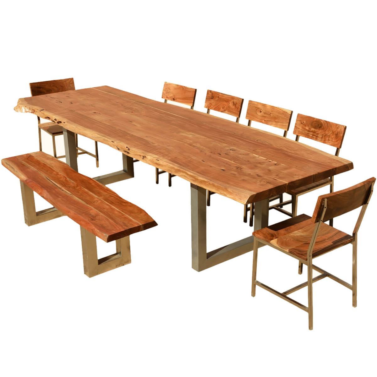 "Widely Used Unique Acacia Wood Dining Tables Regarding 117"" Live Edge Dining Table W 6 Chairs & Bench – Acacia Wood & Iron (Gallery 20 of 30)"