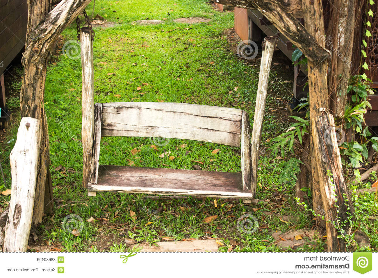 Widely Used Vineyard Porch Swings Within Wooden Porch Swing In Garden Stock Image – Image Of Garden (View 25 of 30)