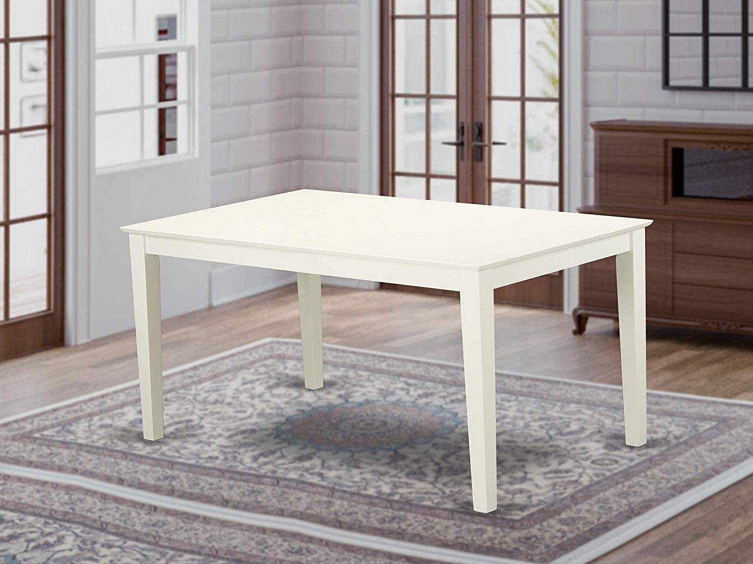 "Widely Used Wood Top Dining Tables Regarding Capri Rectangular Dining Table 36""x60"" With Solid Wood Top In Linen White  Finish (Gallery 1 of 30)"