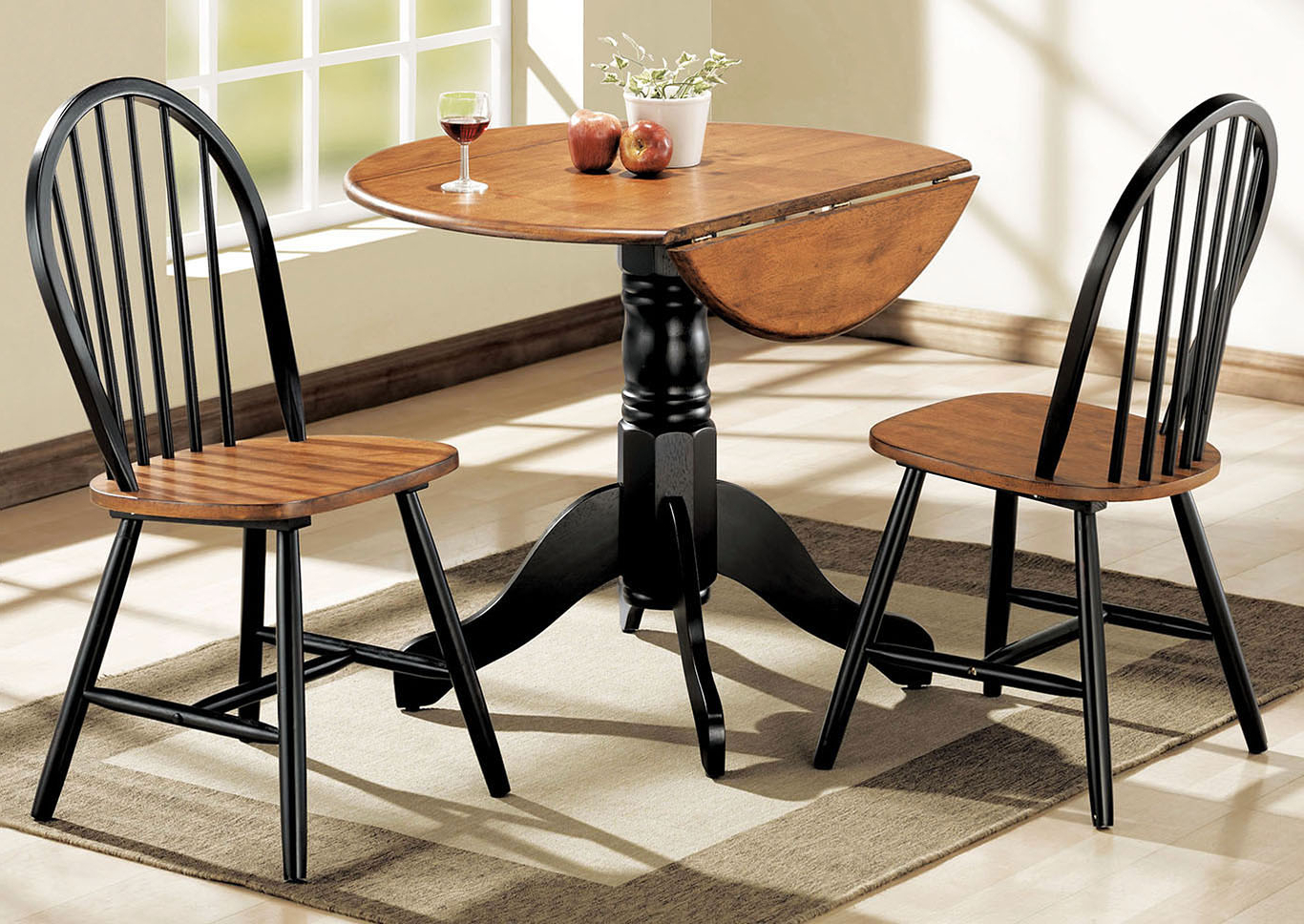 Wine Country Furniture Mason Cherry/black Dining Set (Set Of 3) For Well Known Transitional 3 Piece Drop Leaf Casual Dining Tables Set (View 30 of 30)