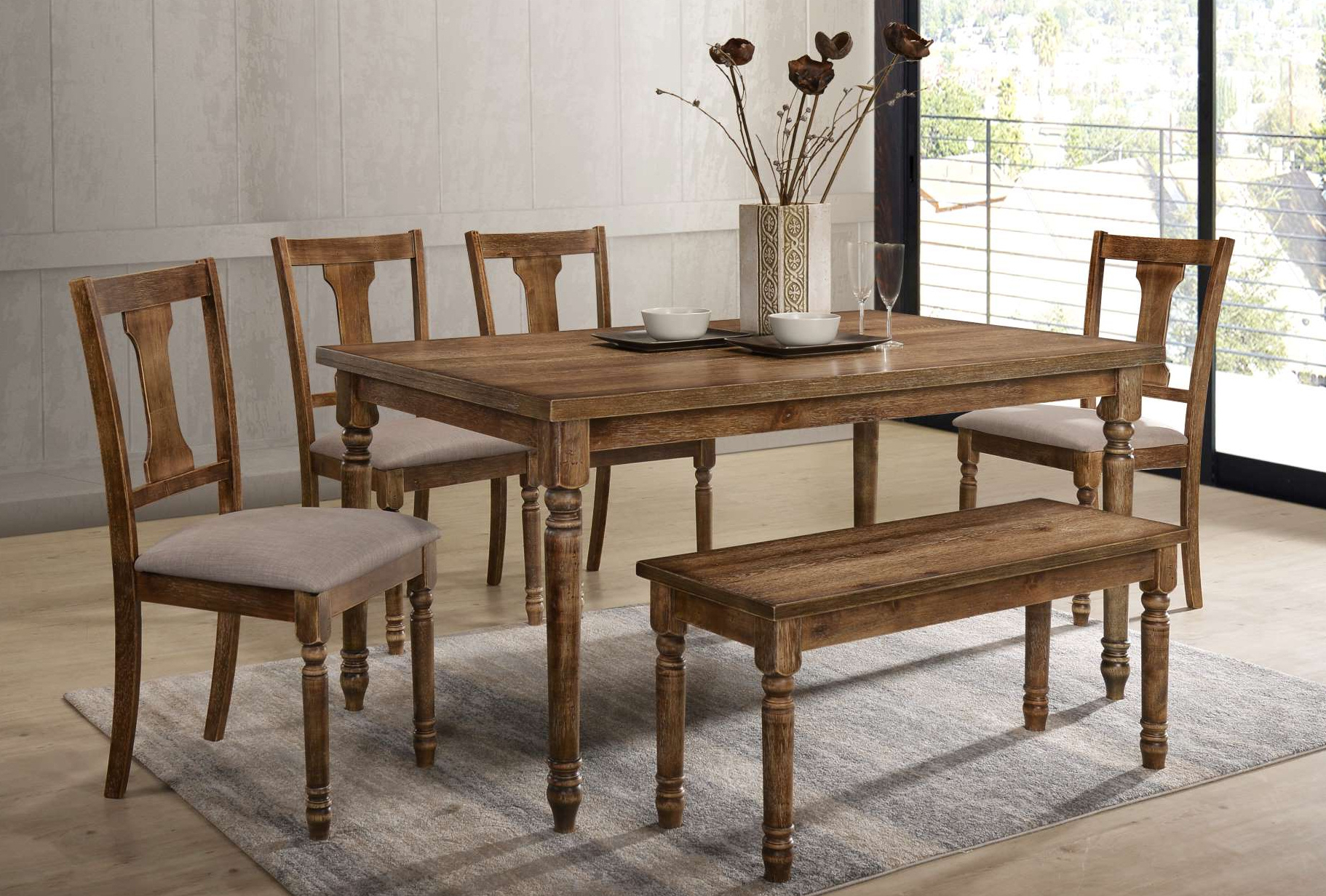 Wood Dinettes And Kitchen Sets Regarding Most Popular Charcoal Transitional 6 Seating Rectangular Dining Tables (View 27 of 30)