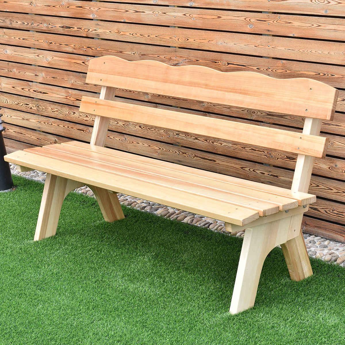 Wood Garden Benches Throughout Recent Giantex 5 Ft 3 Seats Outdoor Wooden Garden Bench Chair (View 28 of 30)
