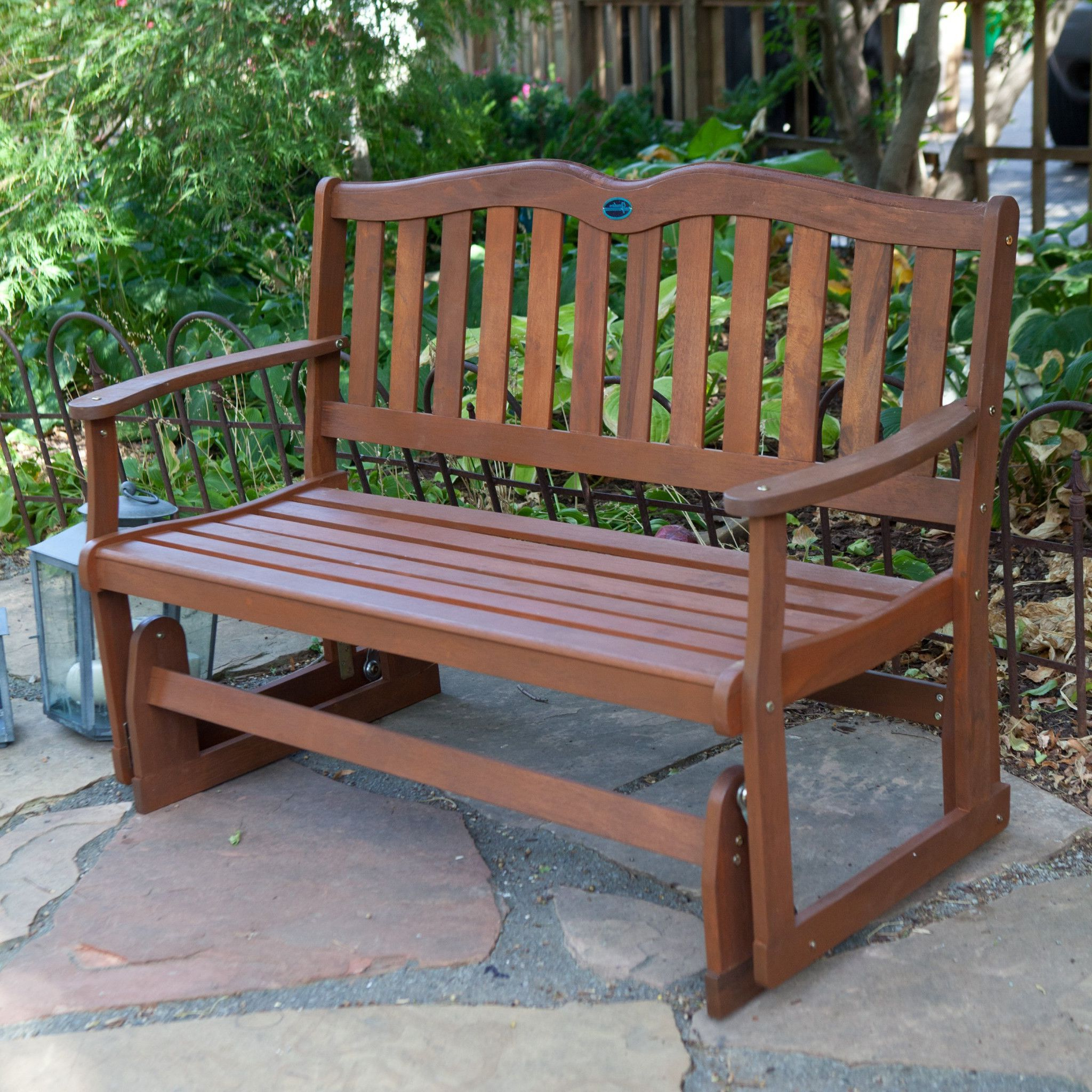 Wood Outdoor 4  Ft. Loveseat Glider Perfect For Patio Or Intended For Newest Loveseat Glider Benches (Gallery 4 of 30)
