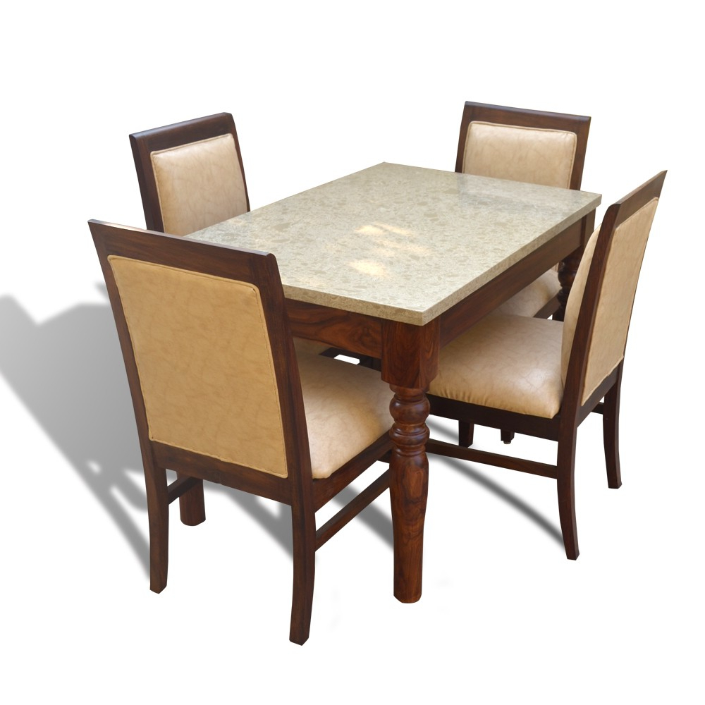 Wood Top Dining Tables Throughout Preferred Sophie 4 Seater Dining Table Set With Marble Top (View 27 of 30)