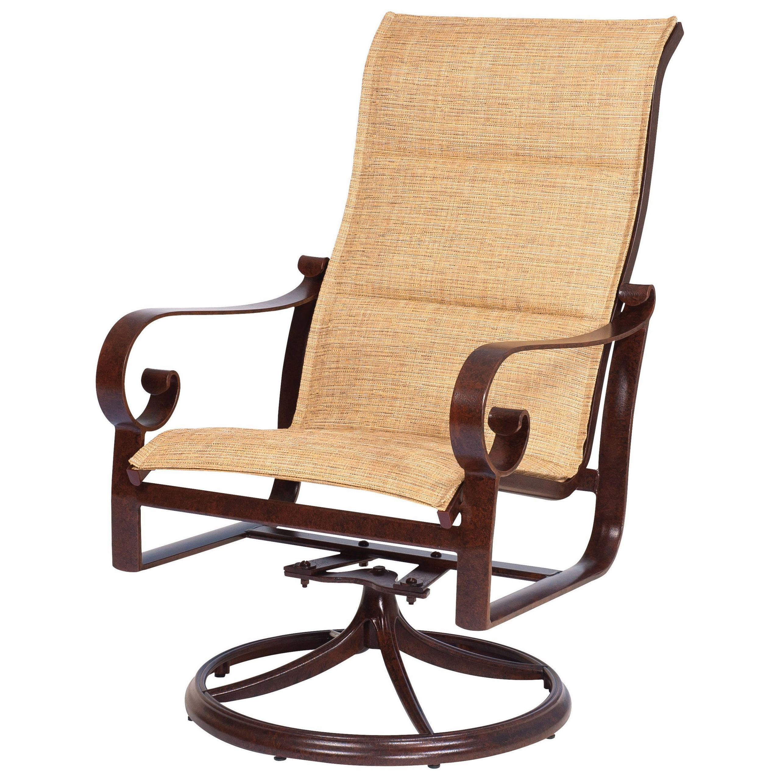 Woodard Belden Padded Sling Aluminum High Back Swivel Rocker Within Famous Sling High Back Swivel Chairs (Gallery 1 of 30)