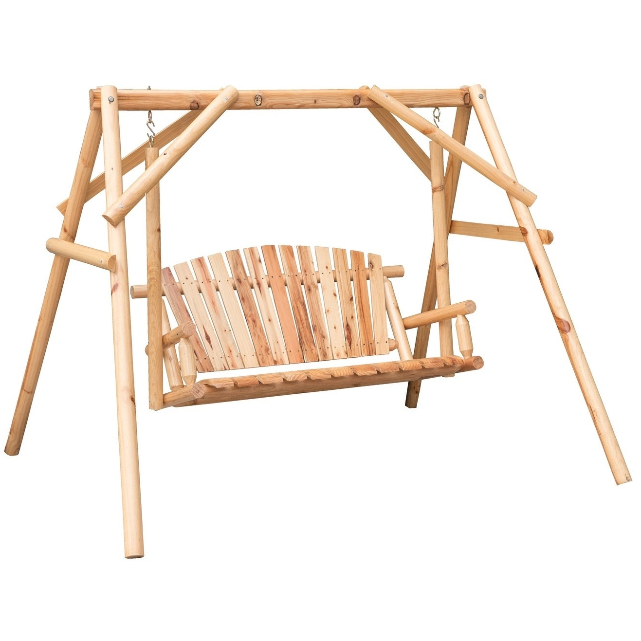 Wooden A Frame 2 Person Outdoor Porch Patio Swing Log Wood Chair Bench Regarding Widely Used 2 Person Light Teak Oil Wood Outdoor Swings (Gallery 11 of 30)