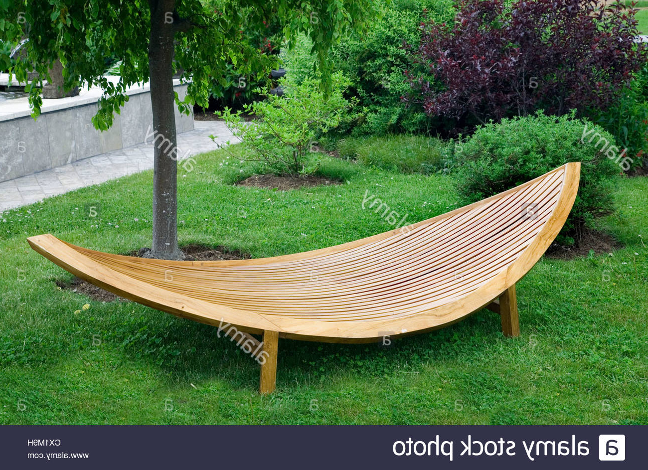 Wooden Garden Furniture Stock Photos & Wooden Garden Pertaining To Widely Used Wood Garden Benches (Gallery 13 of 30)