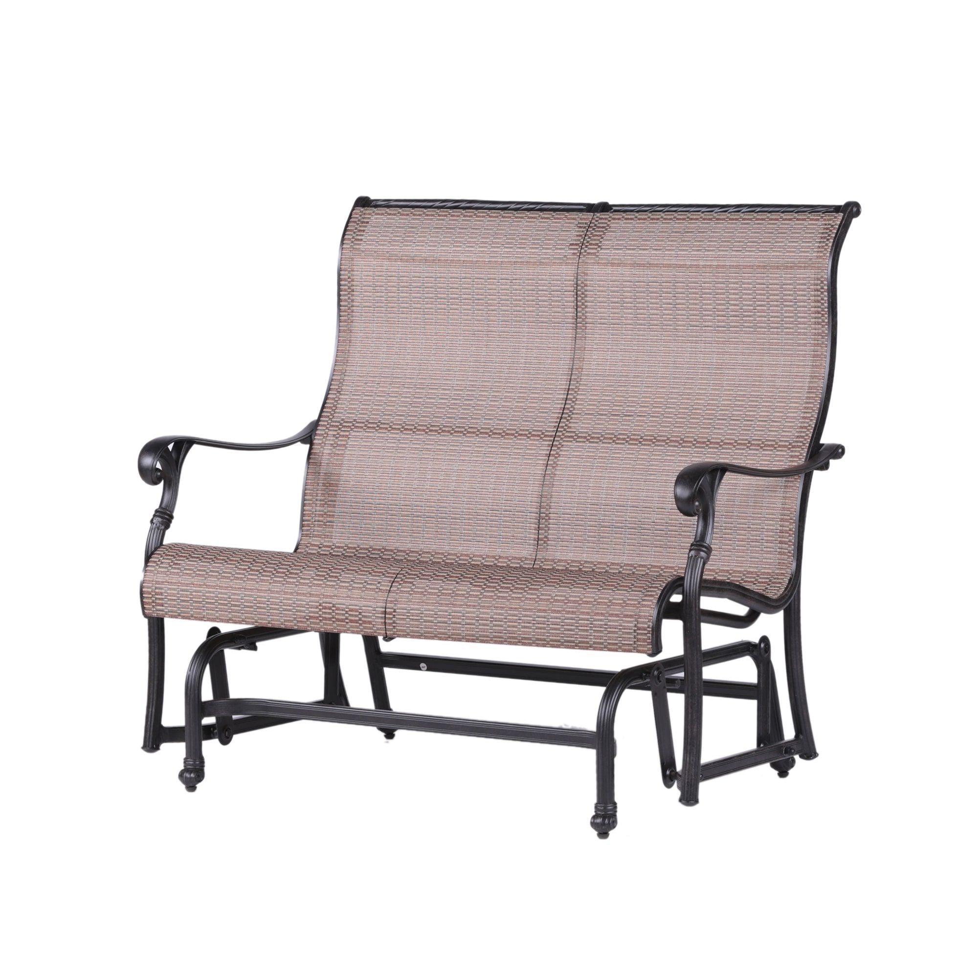 Yorkshire Cast Aluminum (silver) Sling Fabric Double Glider Within Preferred Outdoor Fabric Glider Benches (View 12 of 30)