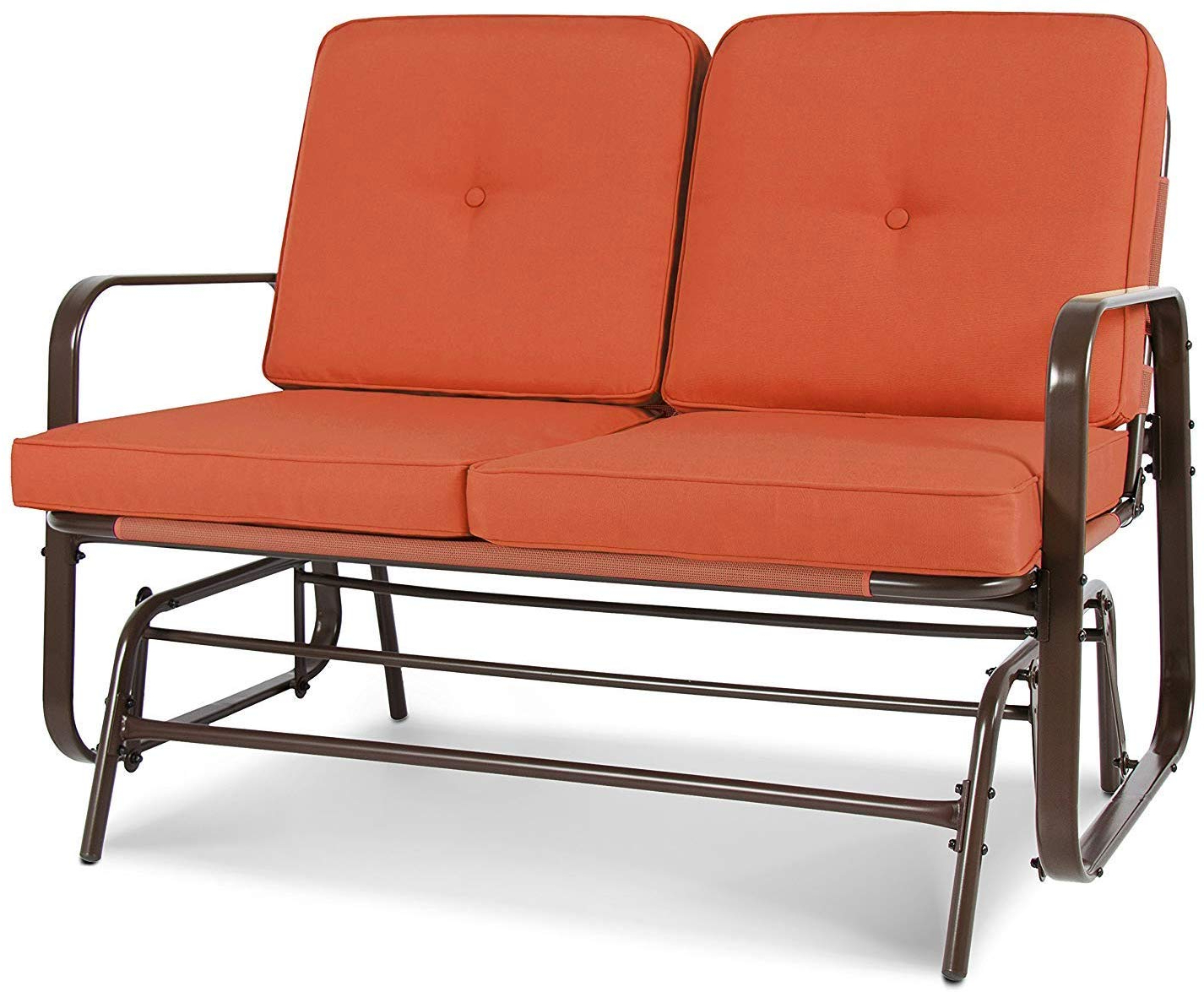 Yu Yusing Patio Glider Loveseat With Cushion, Outdoor Swing Rocking Chair  Garden Seating For 2 Persons With Regard To Most Recently Released Loveseat Glider Benches With Cushions (Gallery 20 of 30)