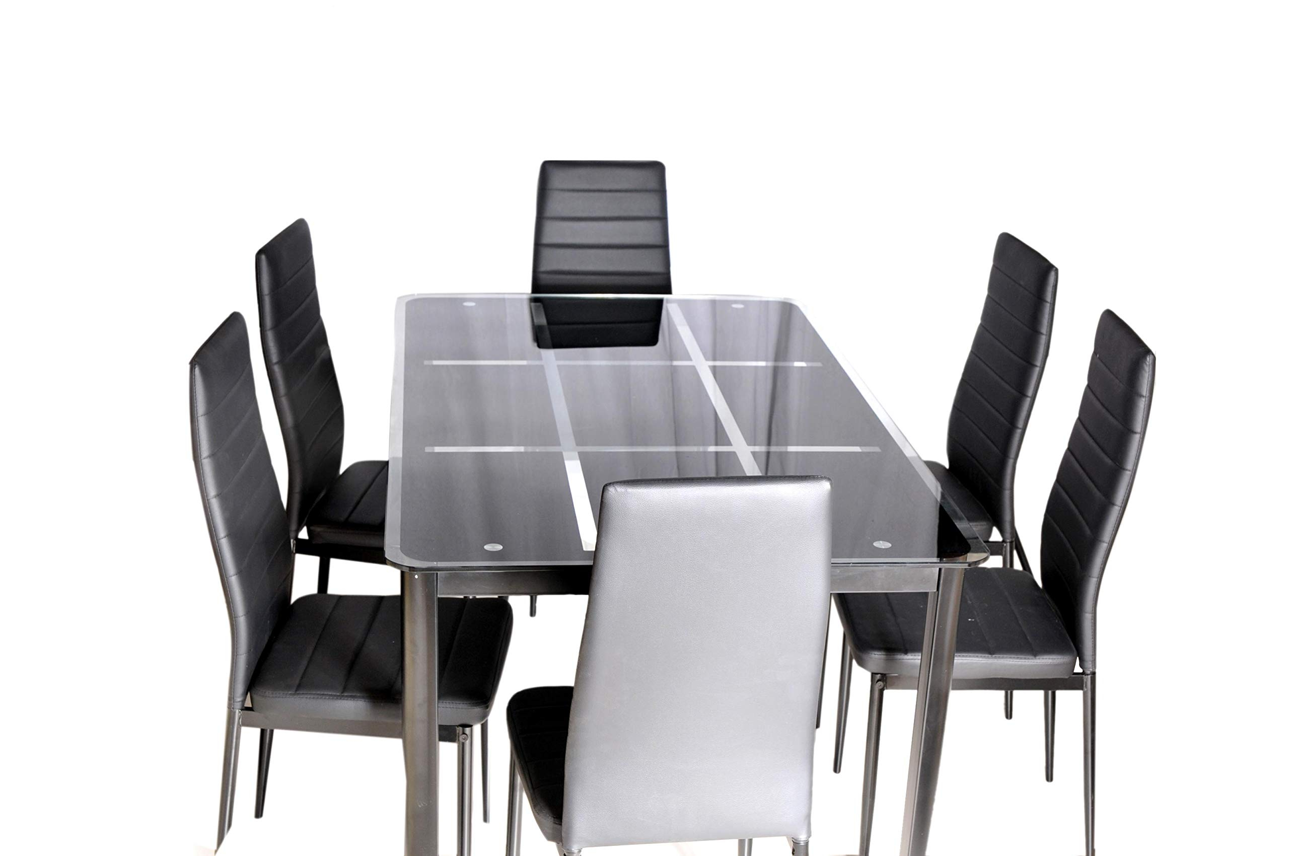 Zena Metal And Glass Dining Table Set, With 6 Chairs, Black Pertaining To Trendy Glass Dining Tables With Metal Legs (Gallery 22 of 30)