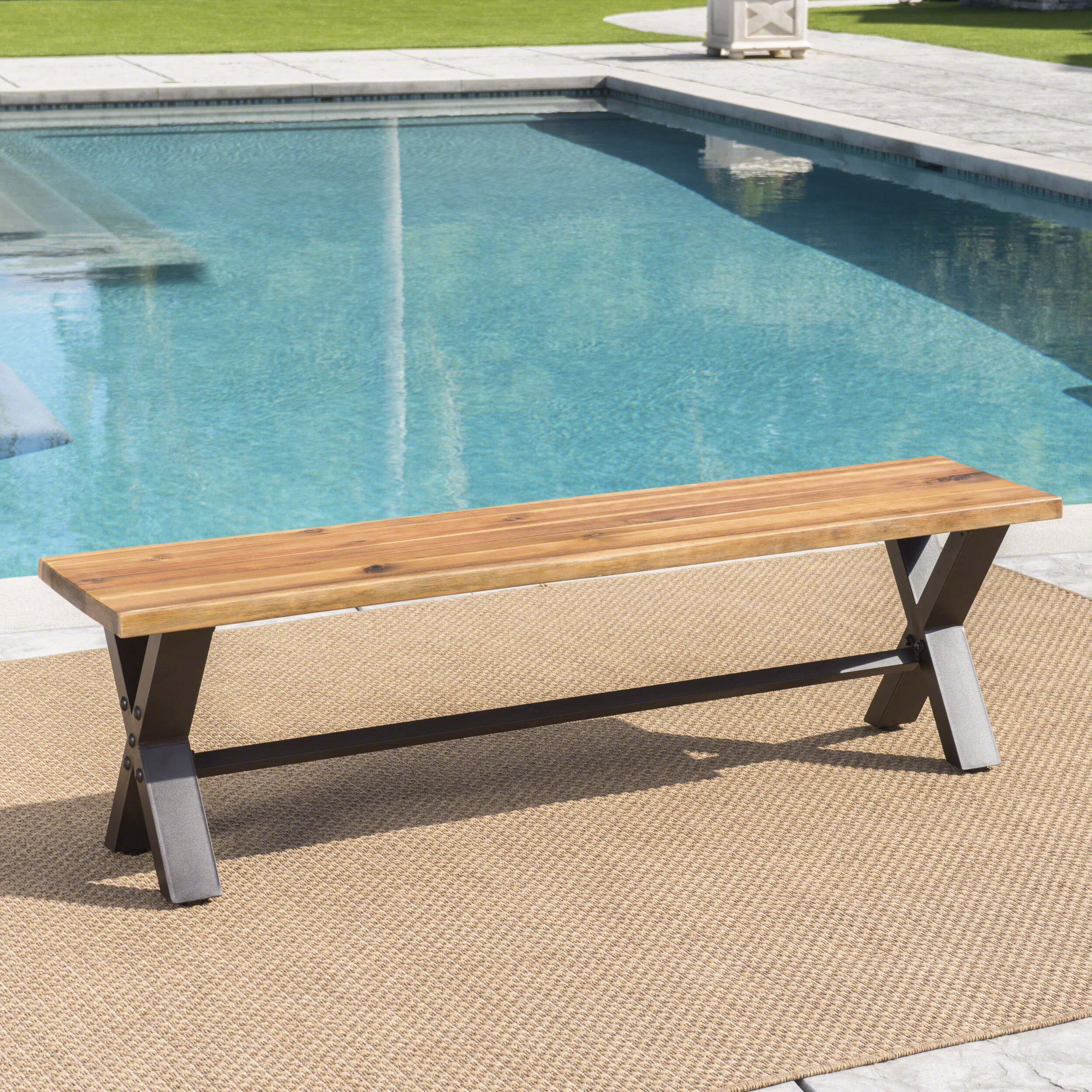 17 Stories Polito Outdoor Wooden Picnic Bench With Trendy Elsner Acacia Garden Benches (View 29 of 30)